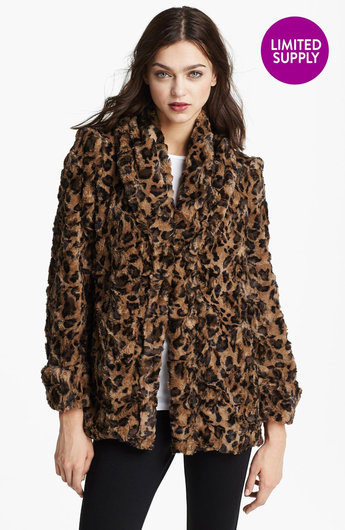 Alternate Image 4  - Alice + Olivia Leopard Print Faux Fur Jacket