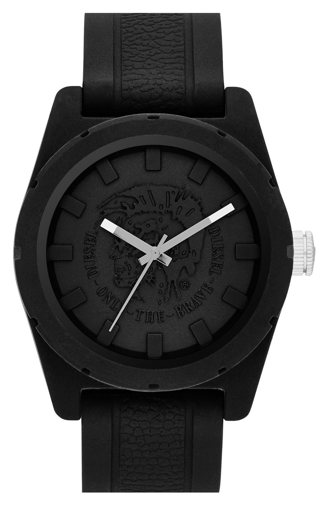 Alternate Image 1 Selected - DIESEL® 'NSBB' Logo Dial Silicone Strap Watch, 46mm