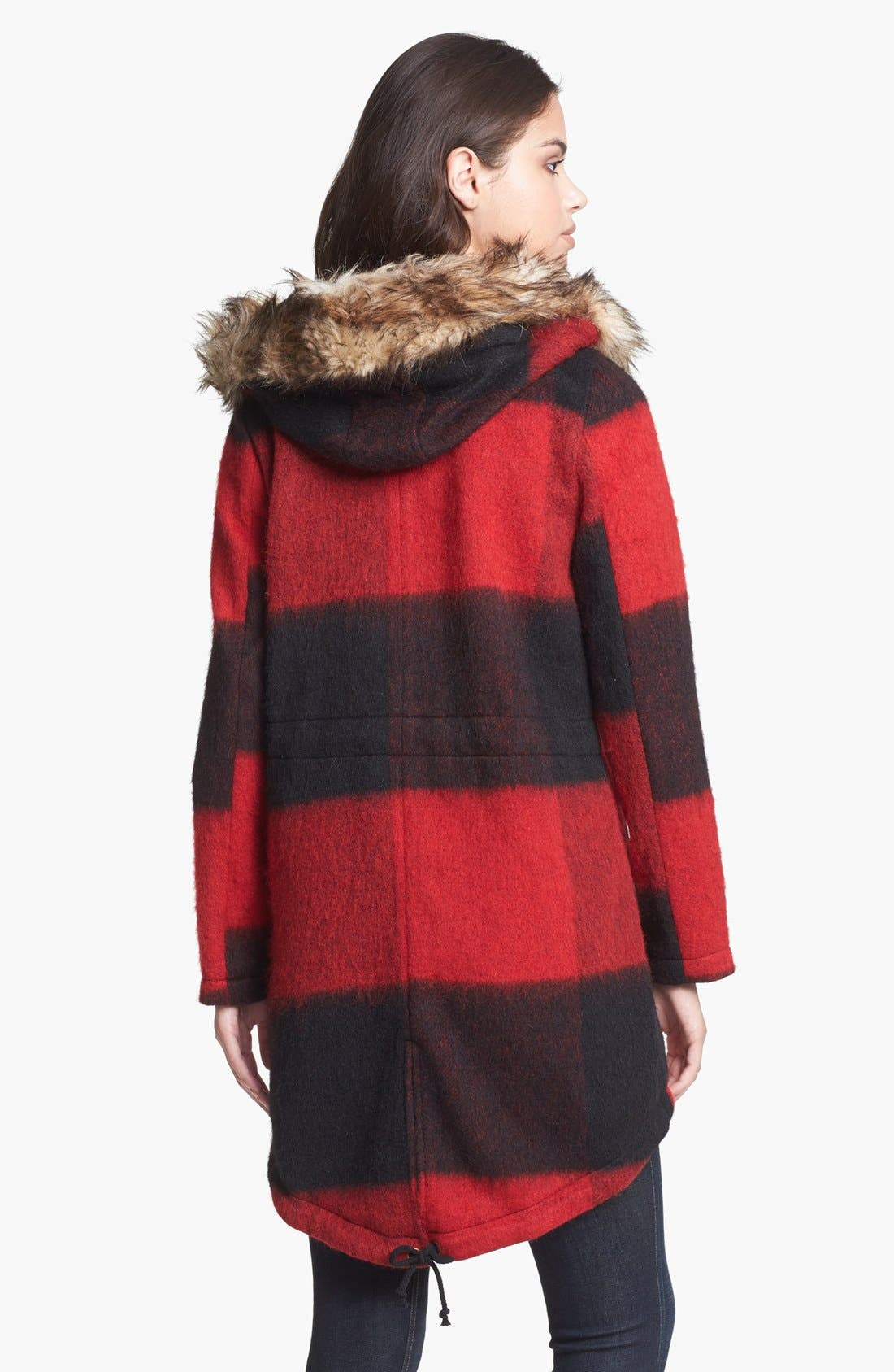 Alternate Image 2  - BB Dakota Faux Fur Trim Buffalo Plaid Anorak