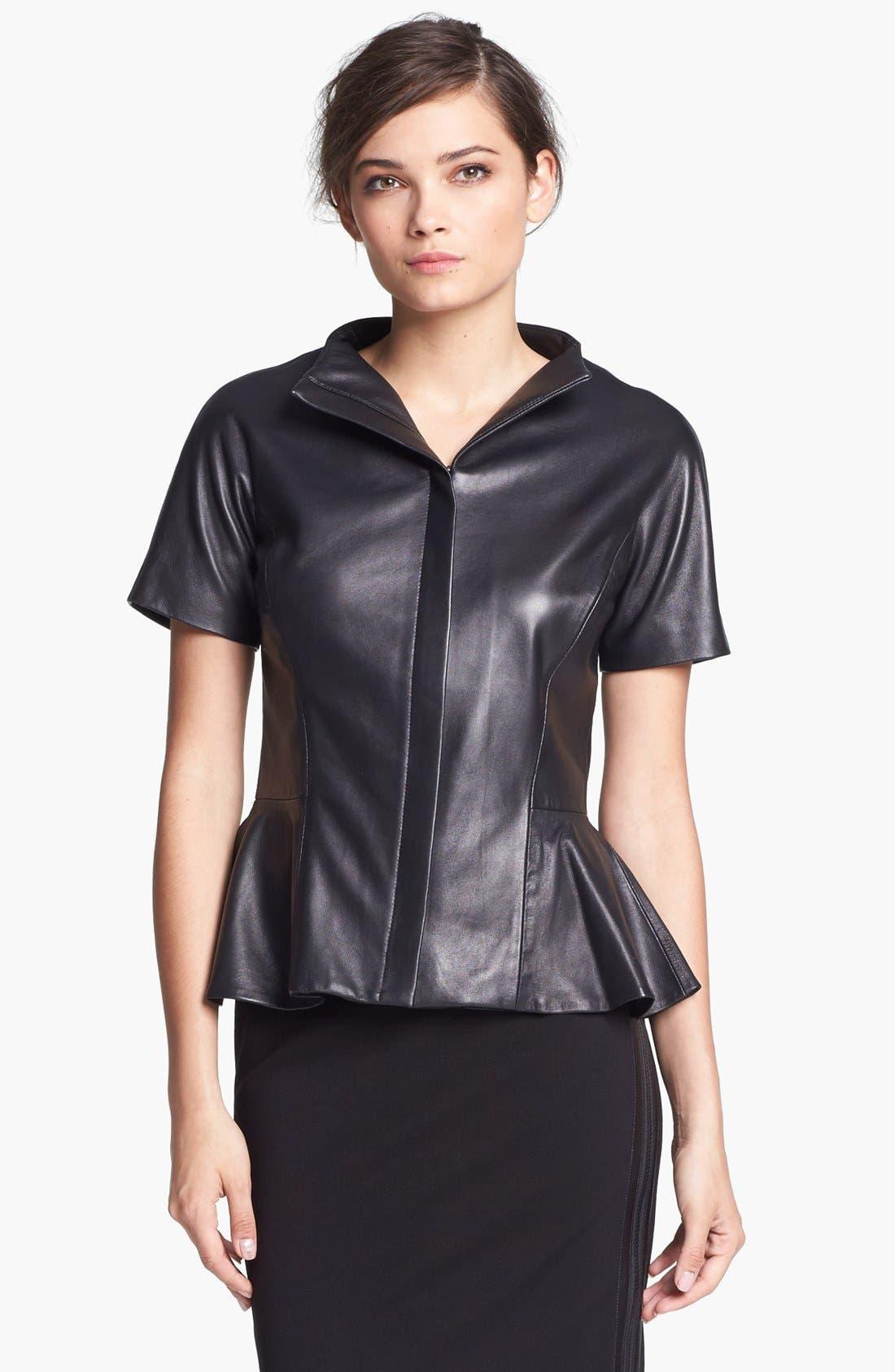 Alternate Image 1 Selected - B and K by BUCHANAN & KANG Leather Peplum Jacket