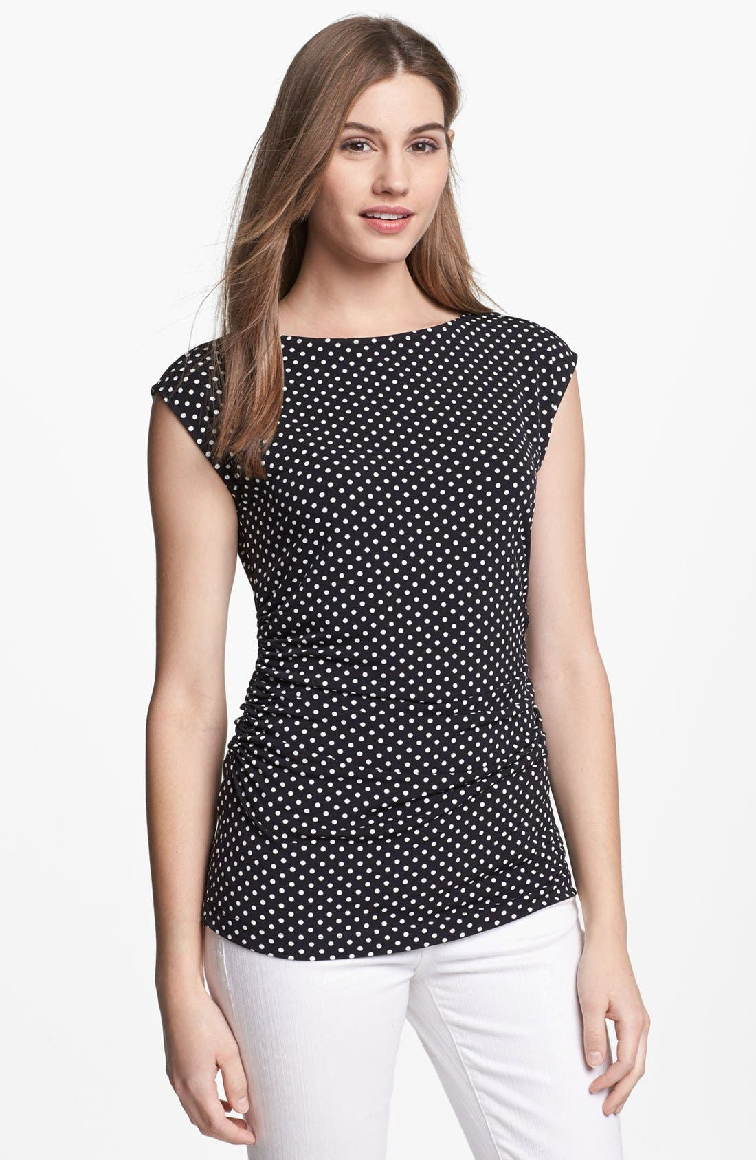 Main Image - Vince Camuto Ruched Boatneck Top (Petite)