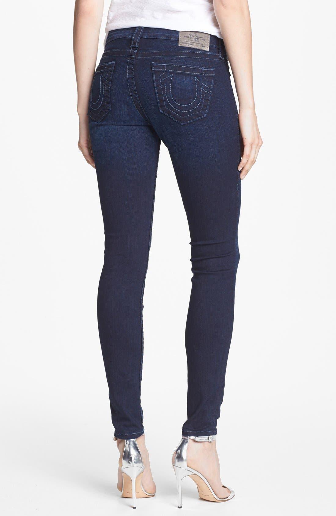 Alternate Image 2  - True Religion Brand Jeans 'Halle' Mid Rise Skinny Jeans (Starlight)