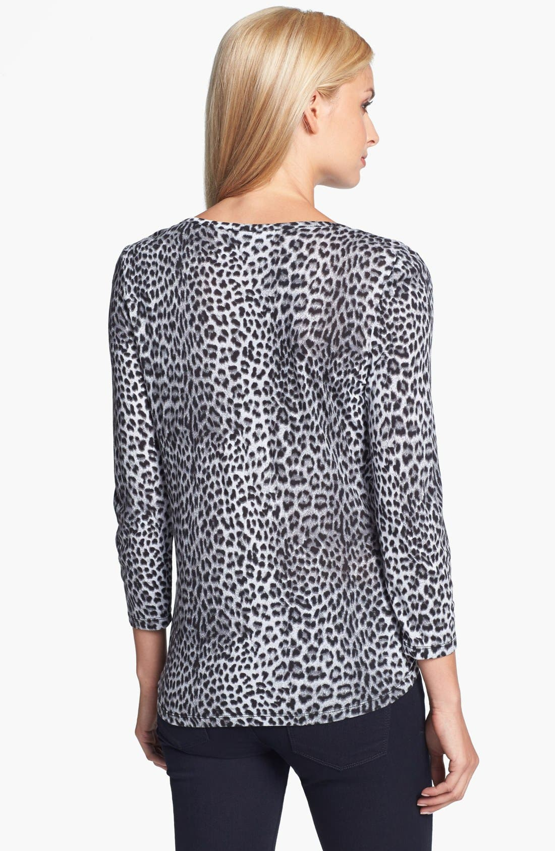 Alternate Image 2  - MICHAEL Michael Kors Leopard Print Drape Neck Top (Regular & Petite)