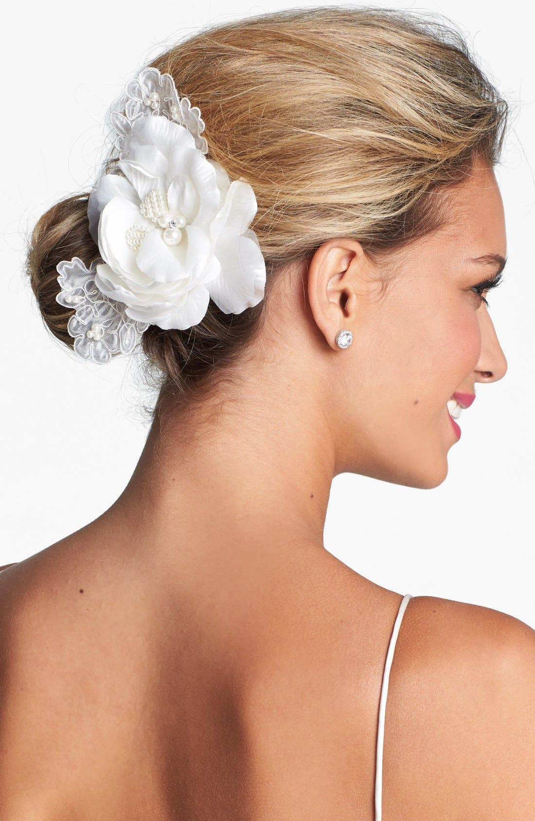 Alternate Image 1 Selected - Wedding Belles New York 'Lucia' Faux Pearl & Crystal Flower Clip