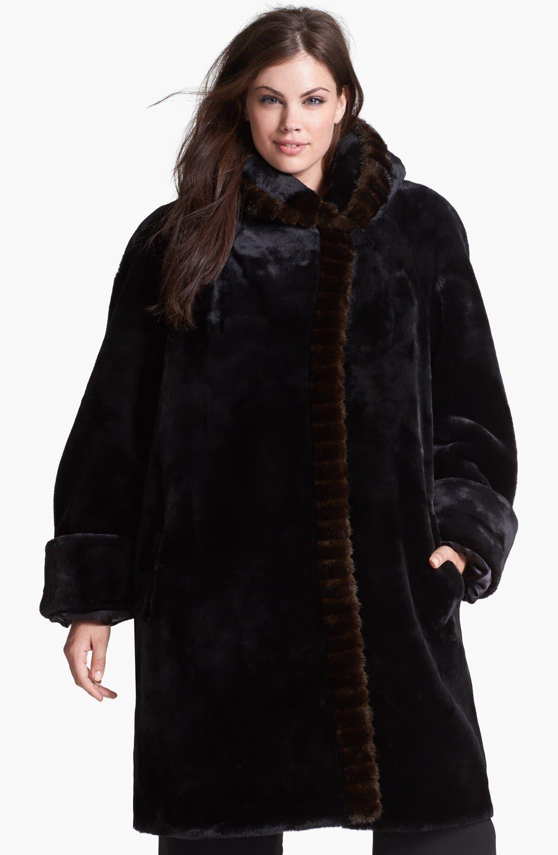 Main Image - Gallery Hooded Faux Fur Walking Coat (Plus Size)