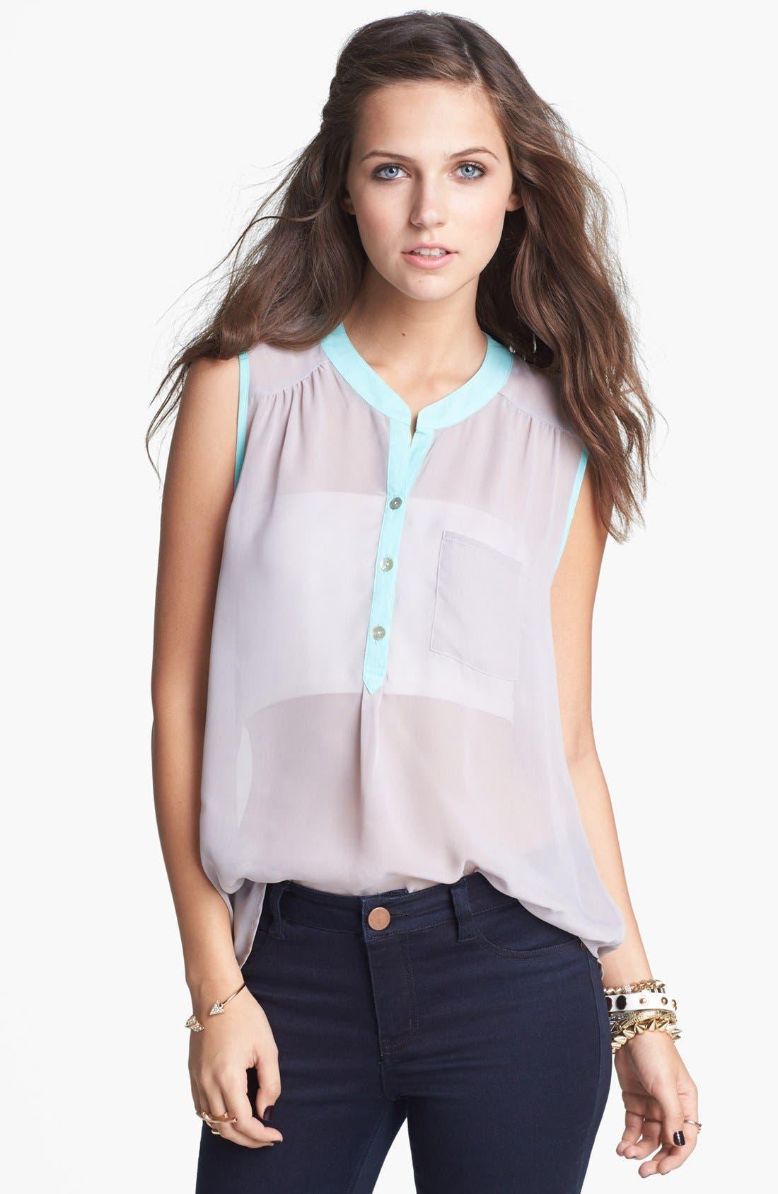 Main Image - Living Doll Contrast Trim Henley Shirt (Juniors)