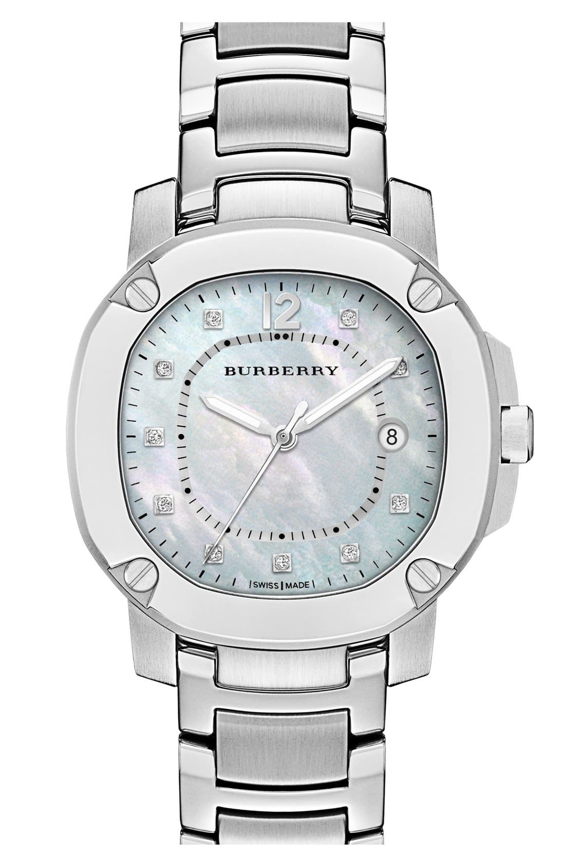 Alternate Image 1 Selected - Burberry The Britain Mother-of-Pearl Bracelet Watch, 38mm