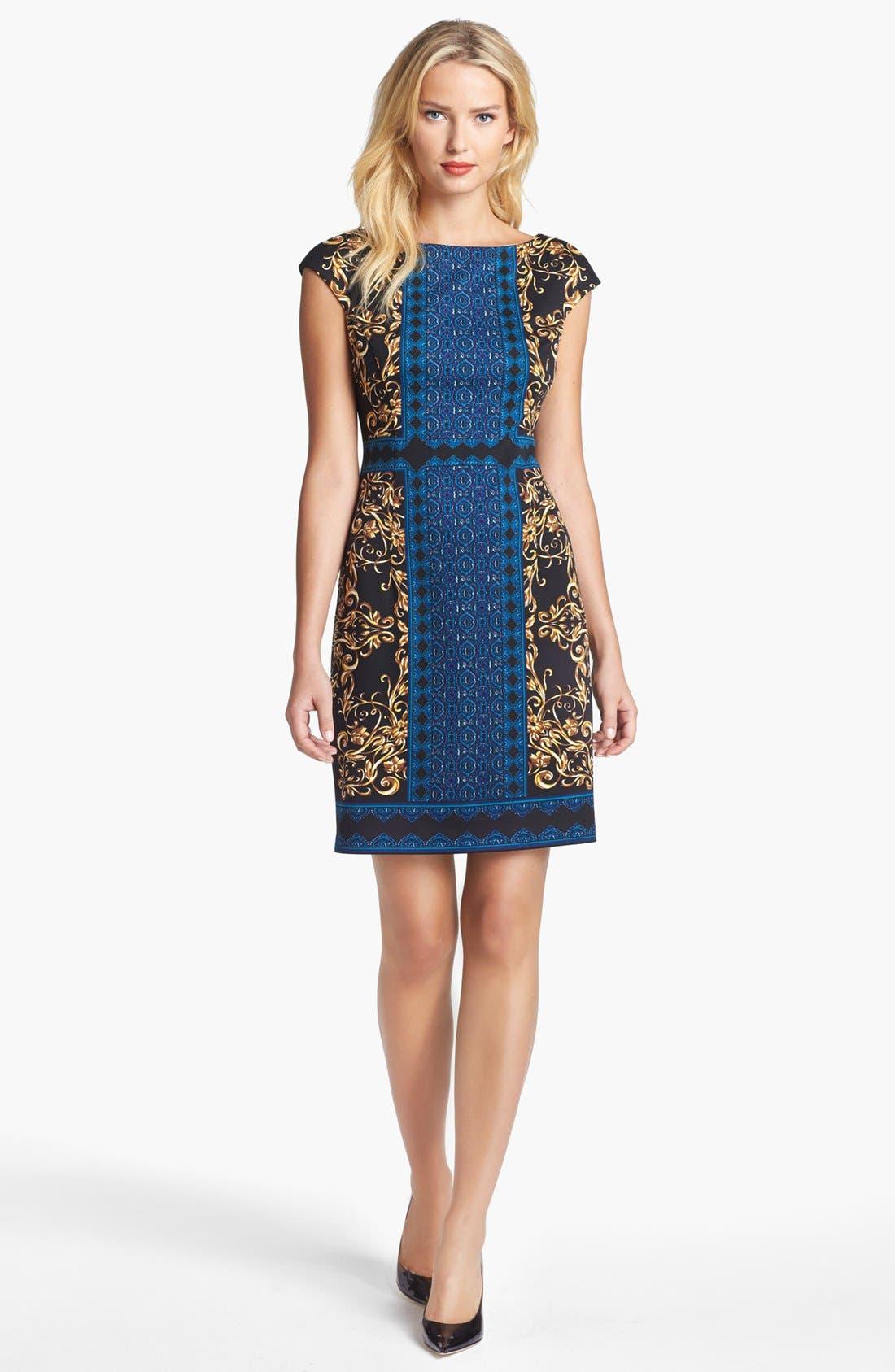 Alternate Image 1 Selected - Maggy London Mix Print Ponte Knit Sheath Dress