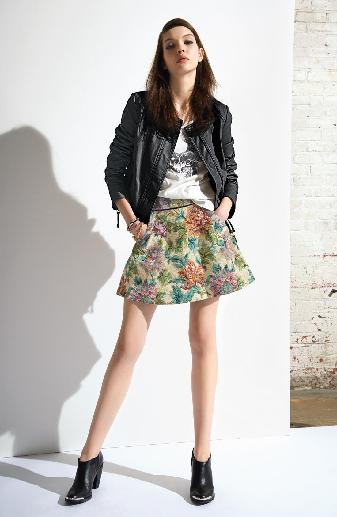 Alternate Image 1 Selected - Free People Jacket, Tee & Skirt