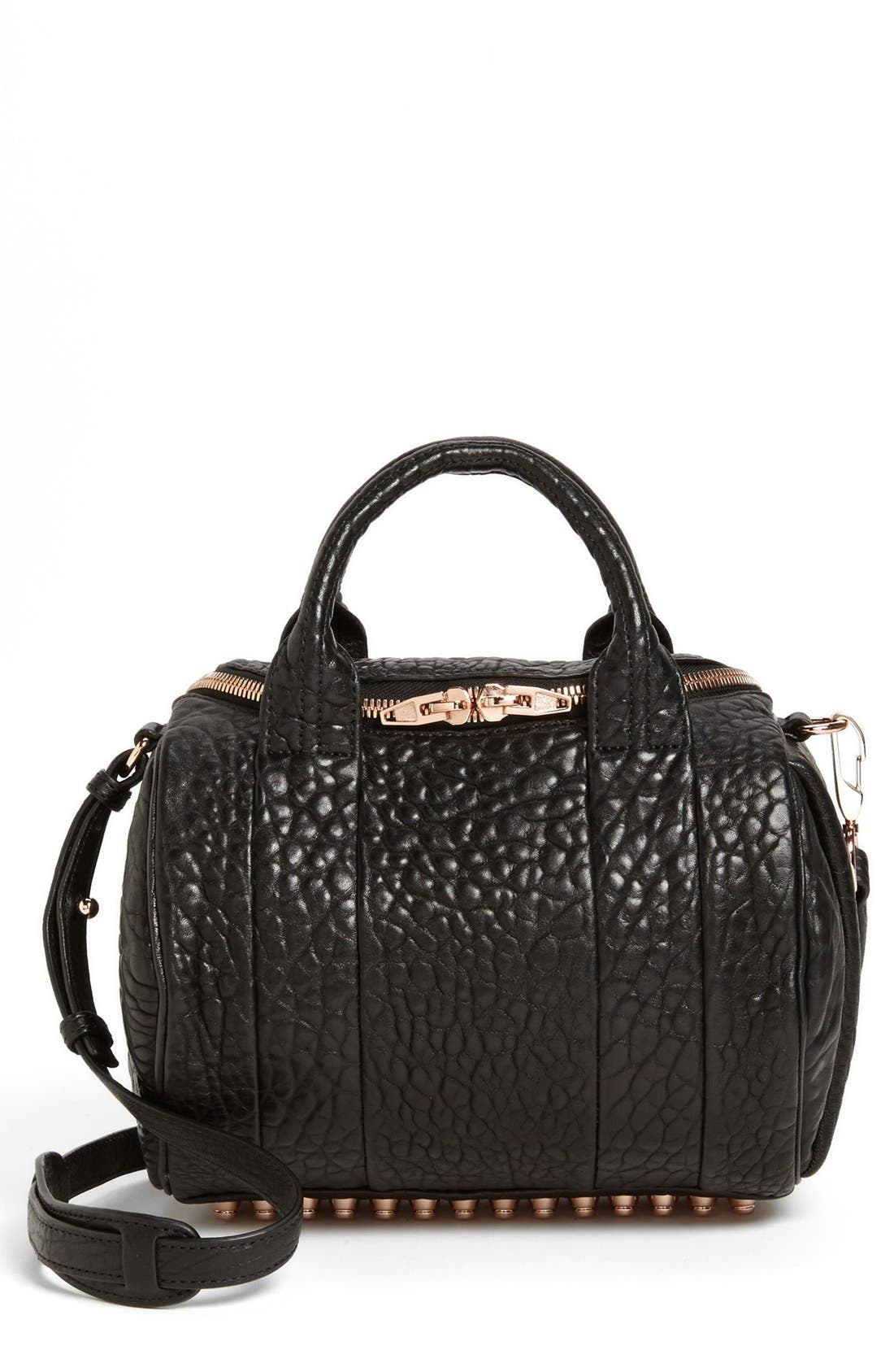 'Rockie - Rose Gold' Leather Crossbody Satchel,                             Main thumbnail 1, color,                             Black Rose Gld Hrdwre