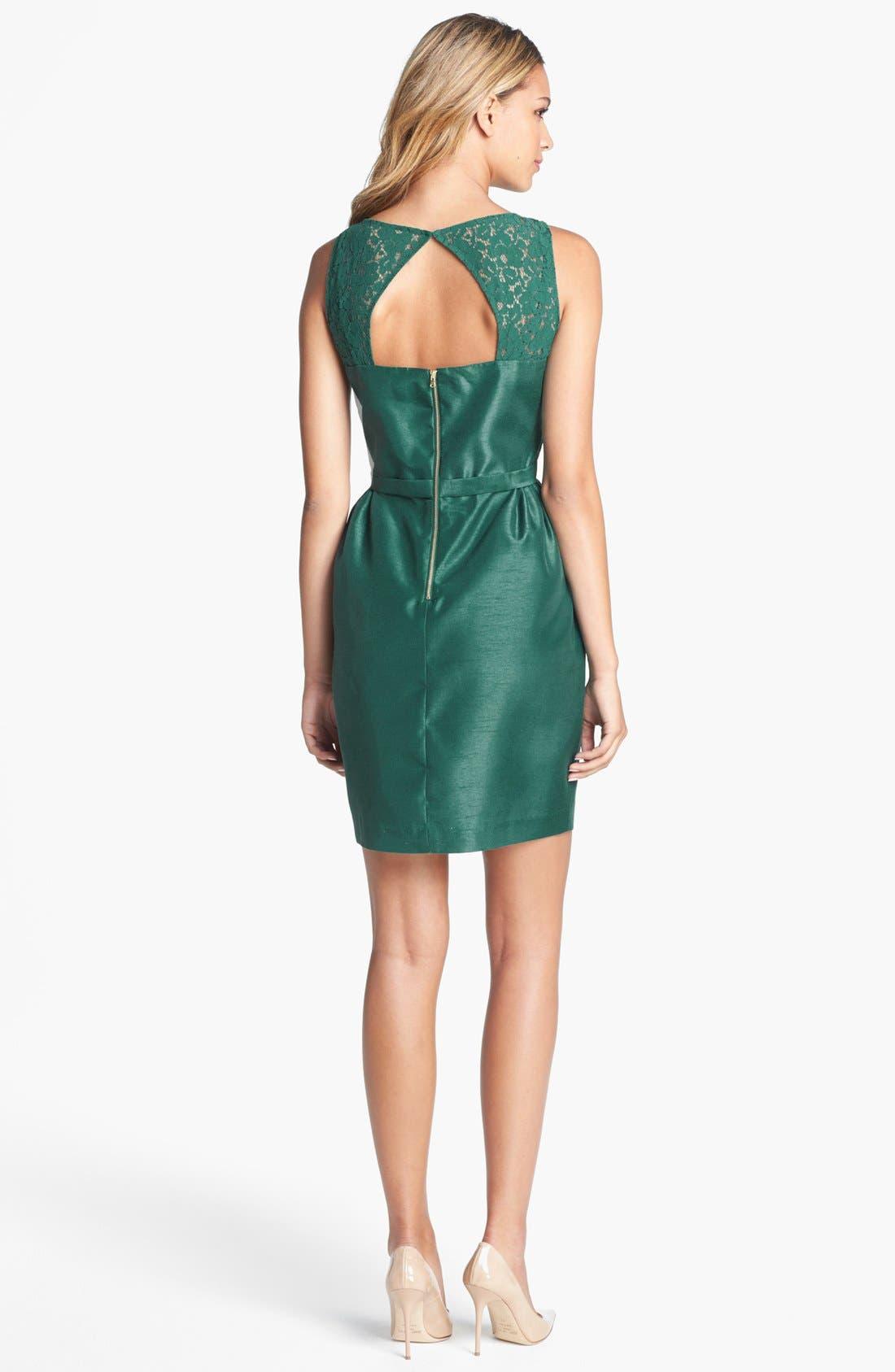 Alternate Image 2  - Taylor Dresses Lace & Satin Sheath Dress