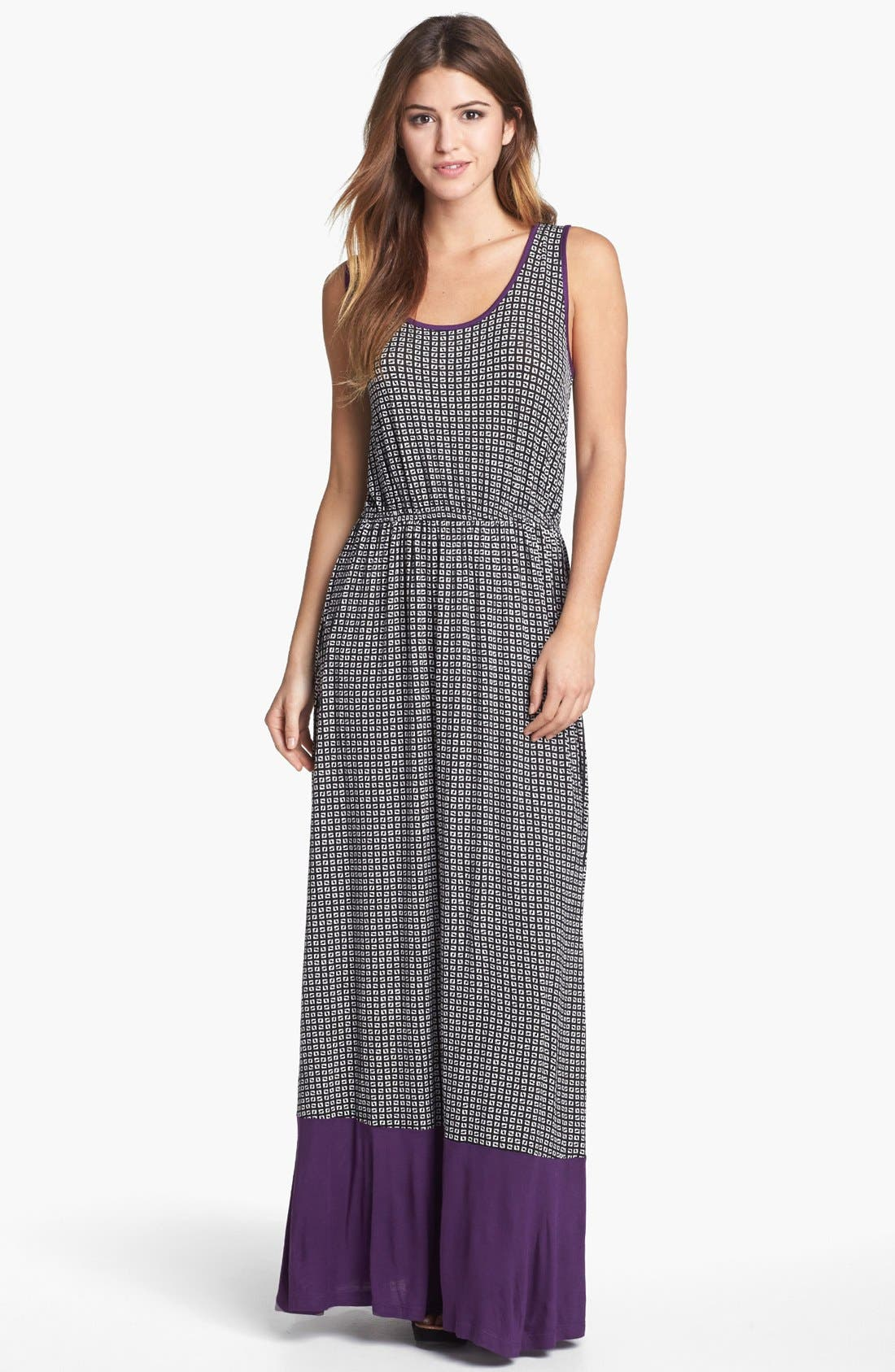 Alternate Image 1 Selected - Bobeau Colorblock Print Maxi Dress