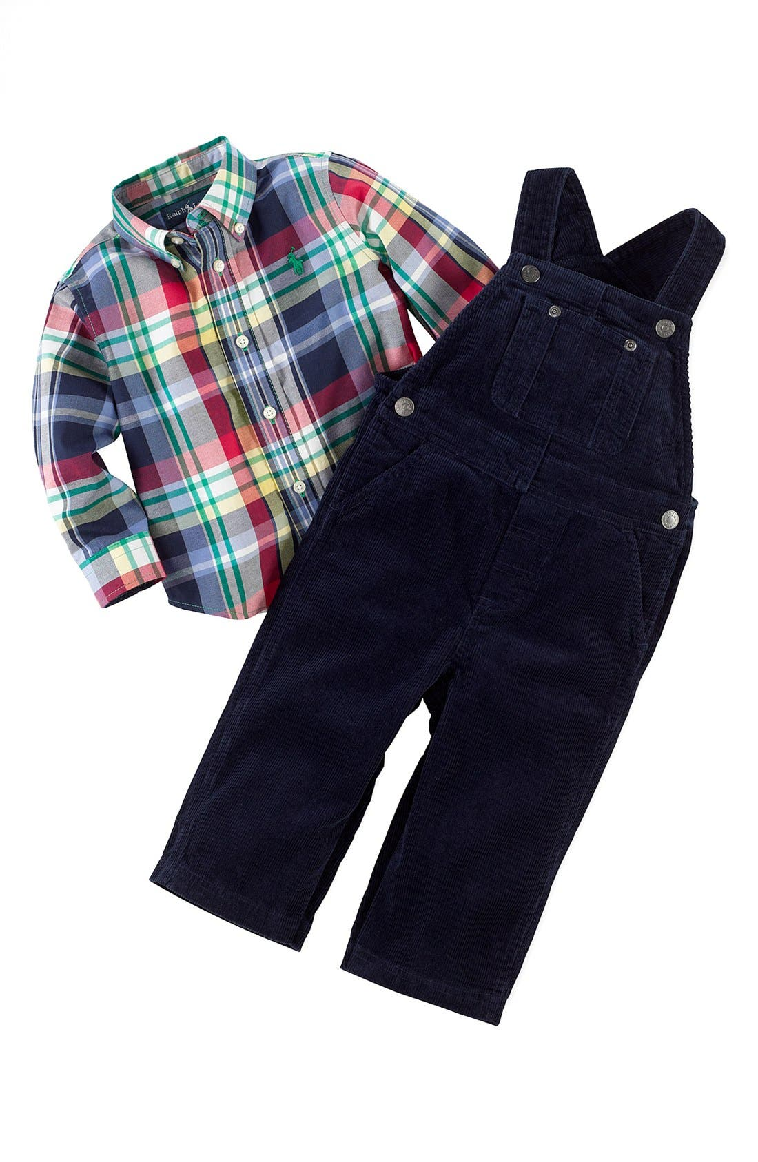 Alternate Image 2  - Ralph Lauren Shirt & Overalls (Baby Boys)