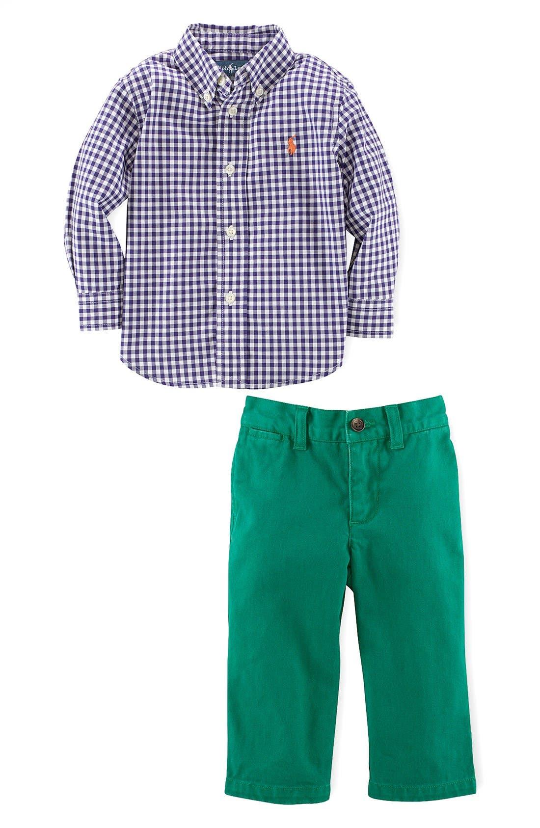 Alternate Image 2  - Ralph Lauren Shirt & Chinos (Baby Boys)