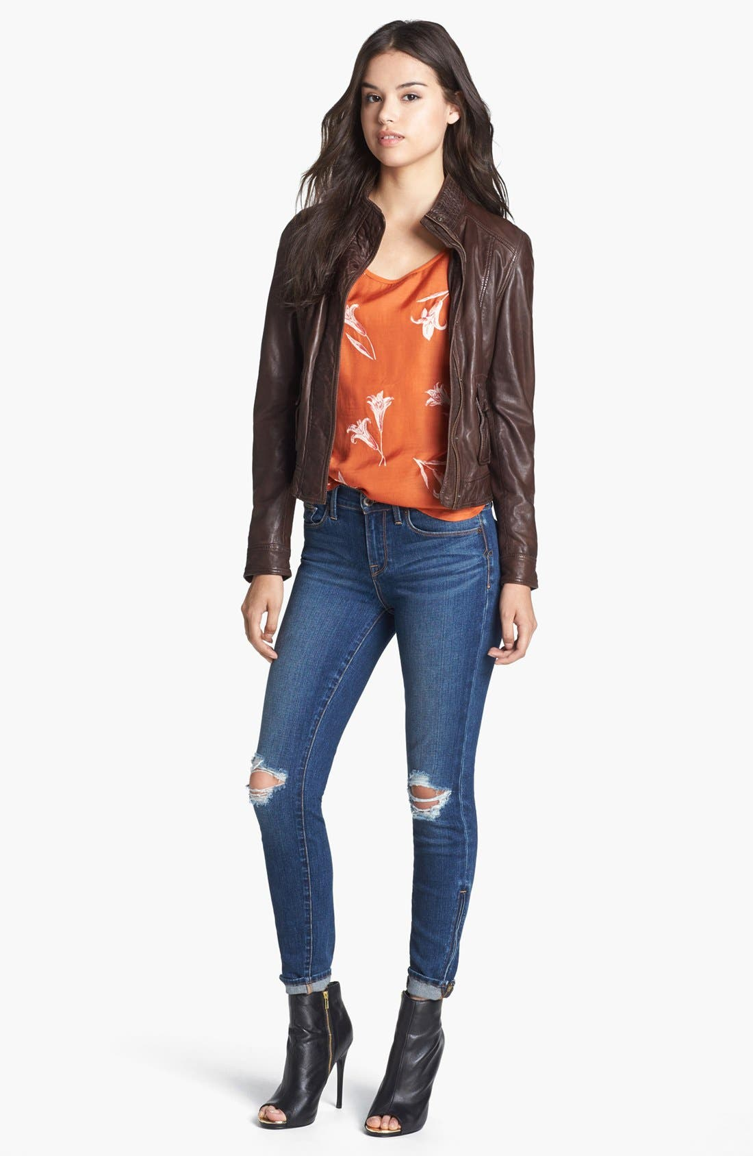 Alternate Image 4  - Lucky Brand 'Sofia' Destroyed Ankle Zip Skinny Jeans (Possum Trot)