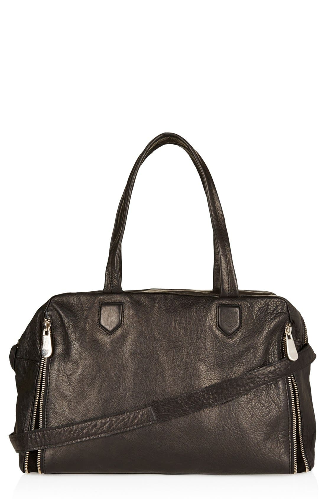 Main Image - Topshop Leather Crossbody Tote, Large