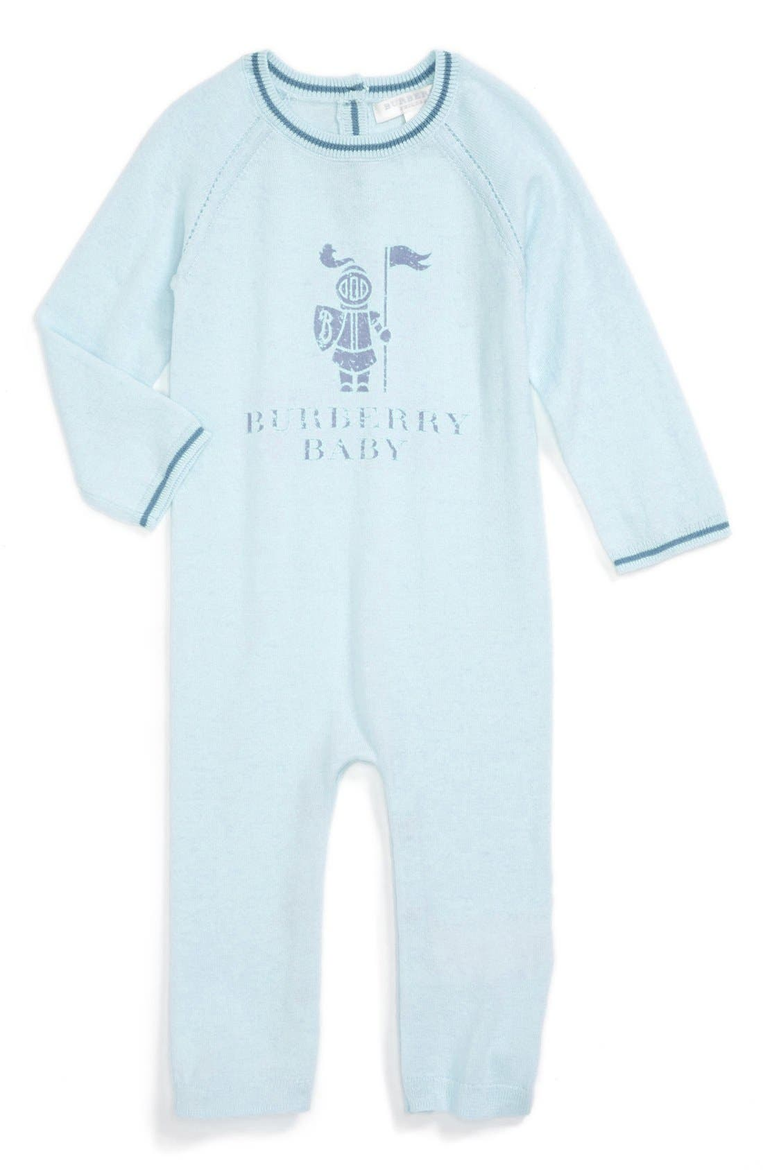Main Image - Burberry Cashmere Blend Romper (Baby Boys)