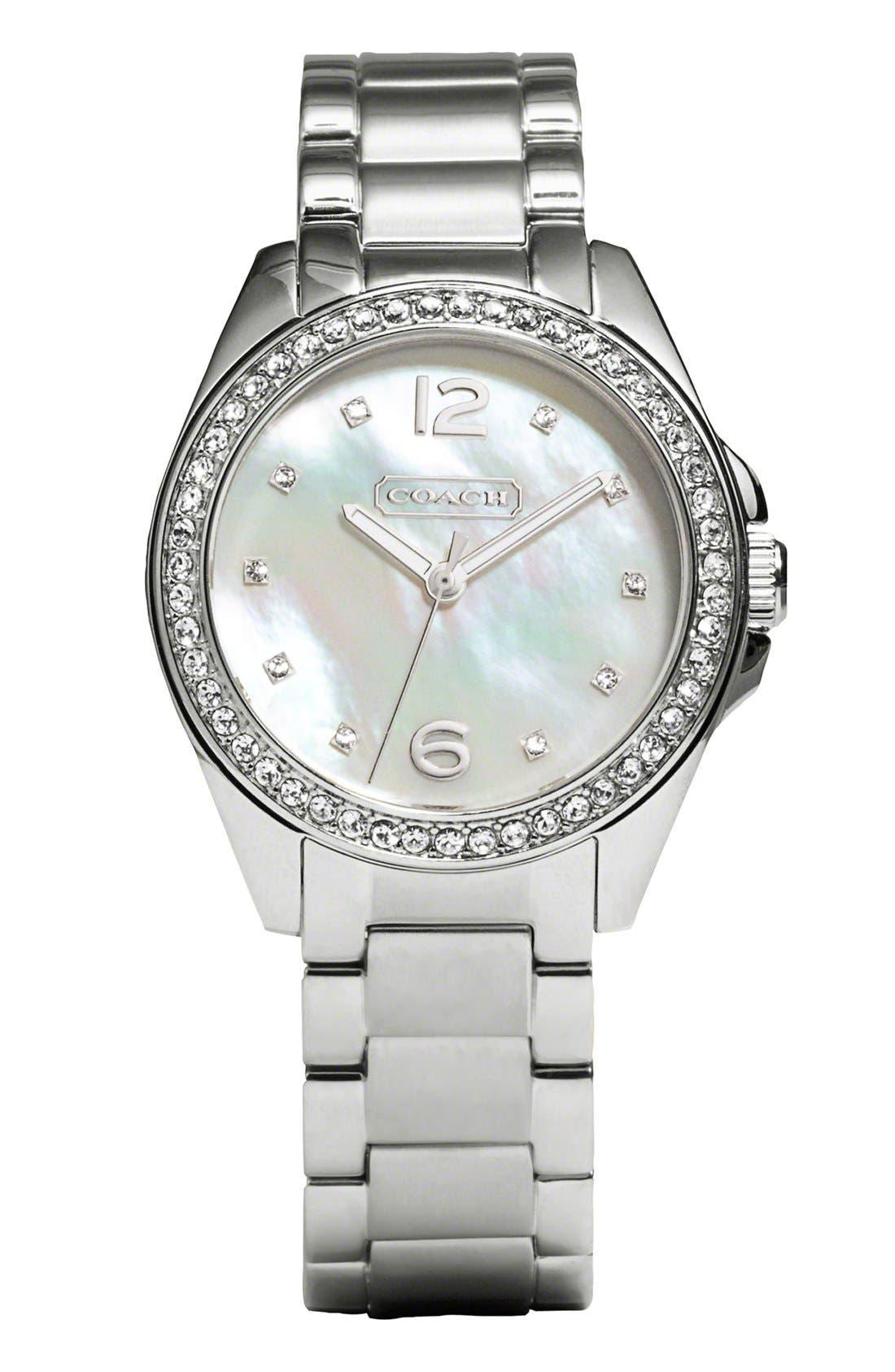 Main Image - COACH 'Tristen' Crystal Bezel Bracelet Watch, 32mm