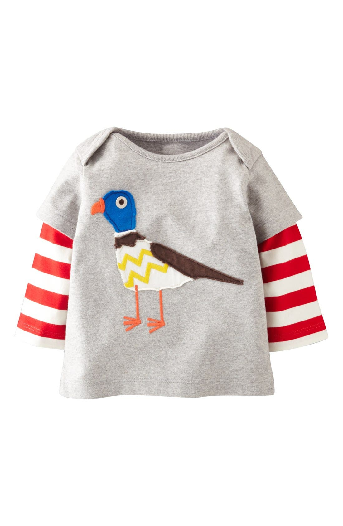 Alternate Image 1 Selected - Mini Boden 'London' Appliqué Layered Sleeve T-Shirt (Baby Boys)