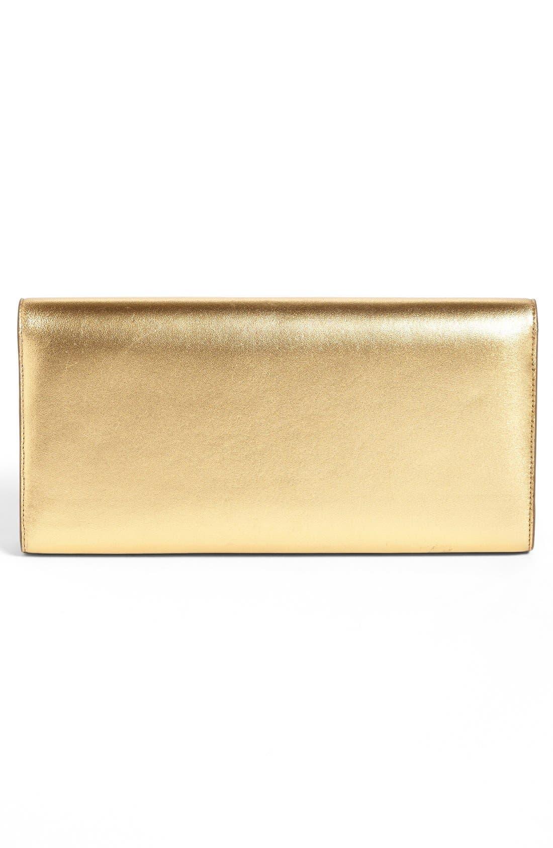 'Cassandre' Leather Clutch,                             Alternate thumbnail 4, color,                             Vermeil Oro