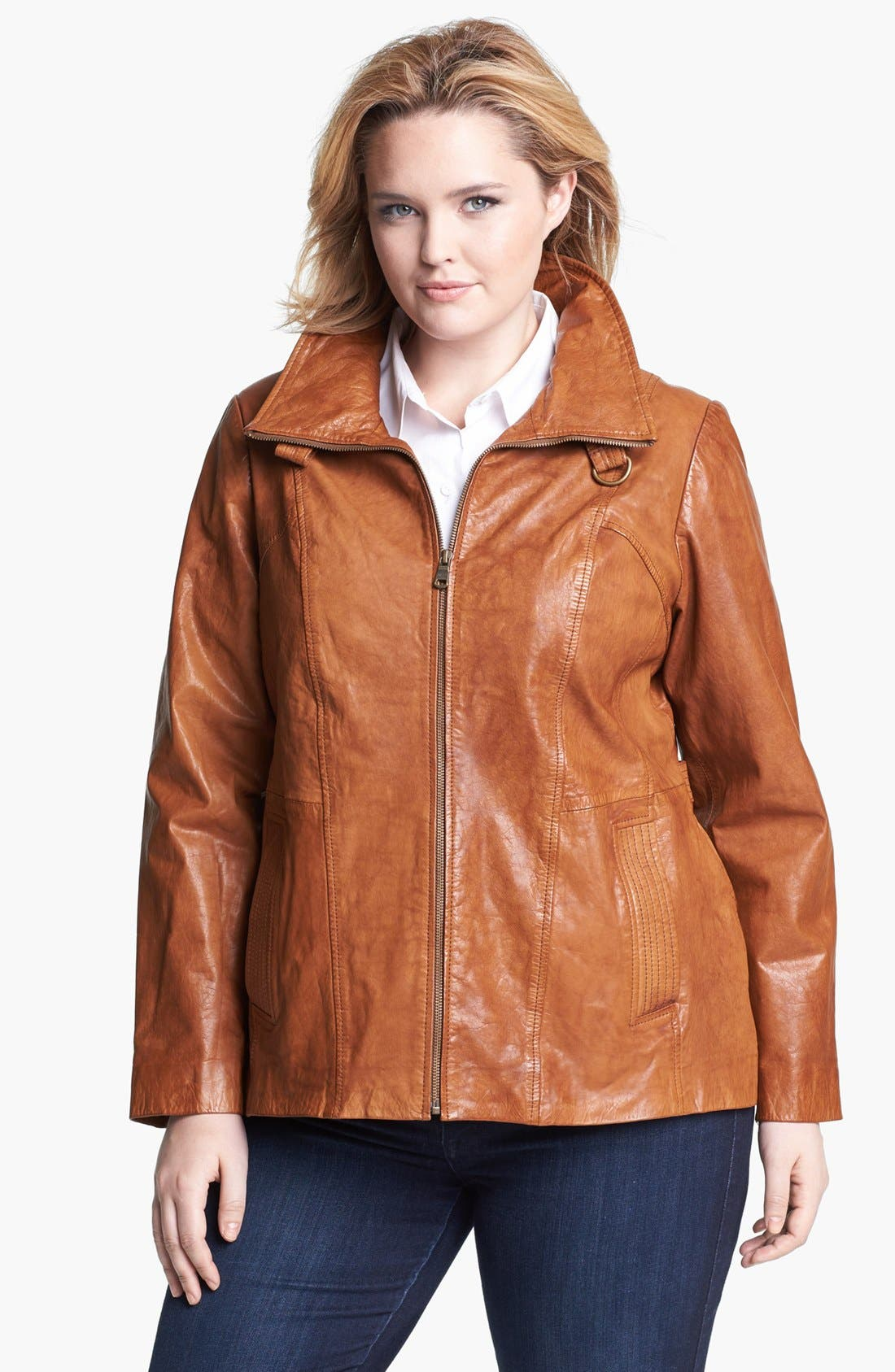 Alternate Image 1 Selected - Marc New York by Andrew Marc 'Reese' Leather Scuba Jacket (Plus Size)