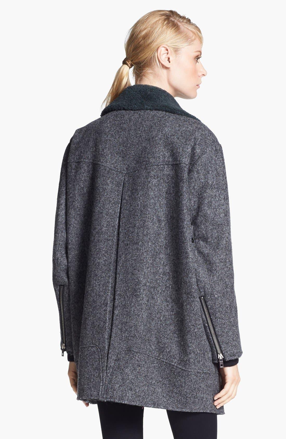 Alternate Image 3  - rag & bone 'Turner' Genuine Shearling & Leather Collar Coat