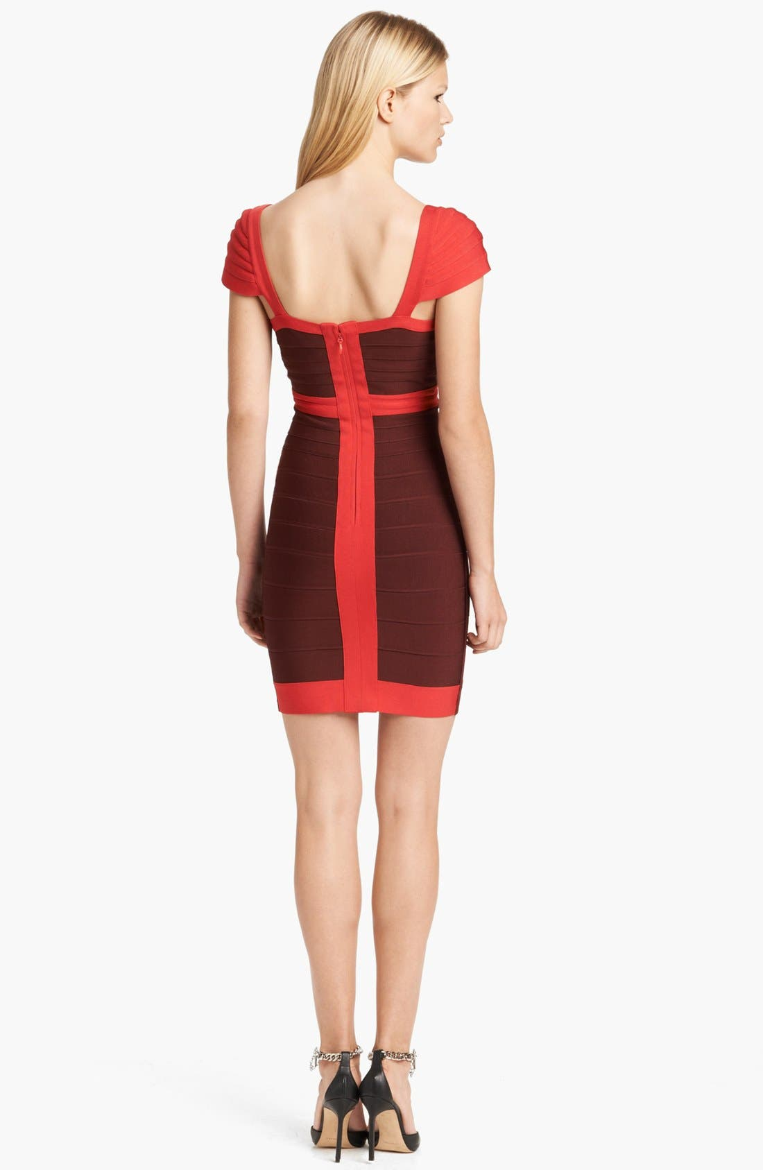 Alternate Image 2  - Herve Leger Cap Sleeve Bandage Dress