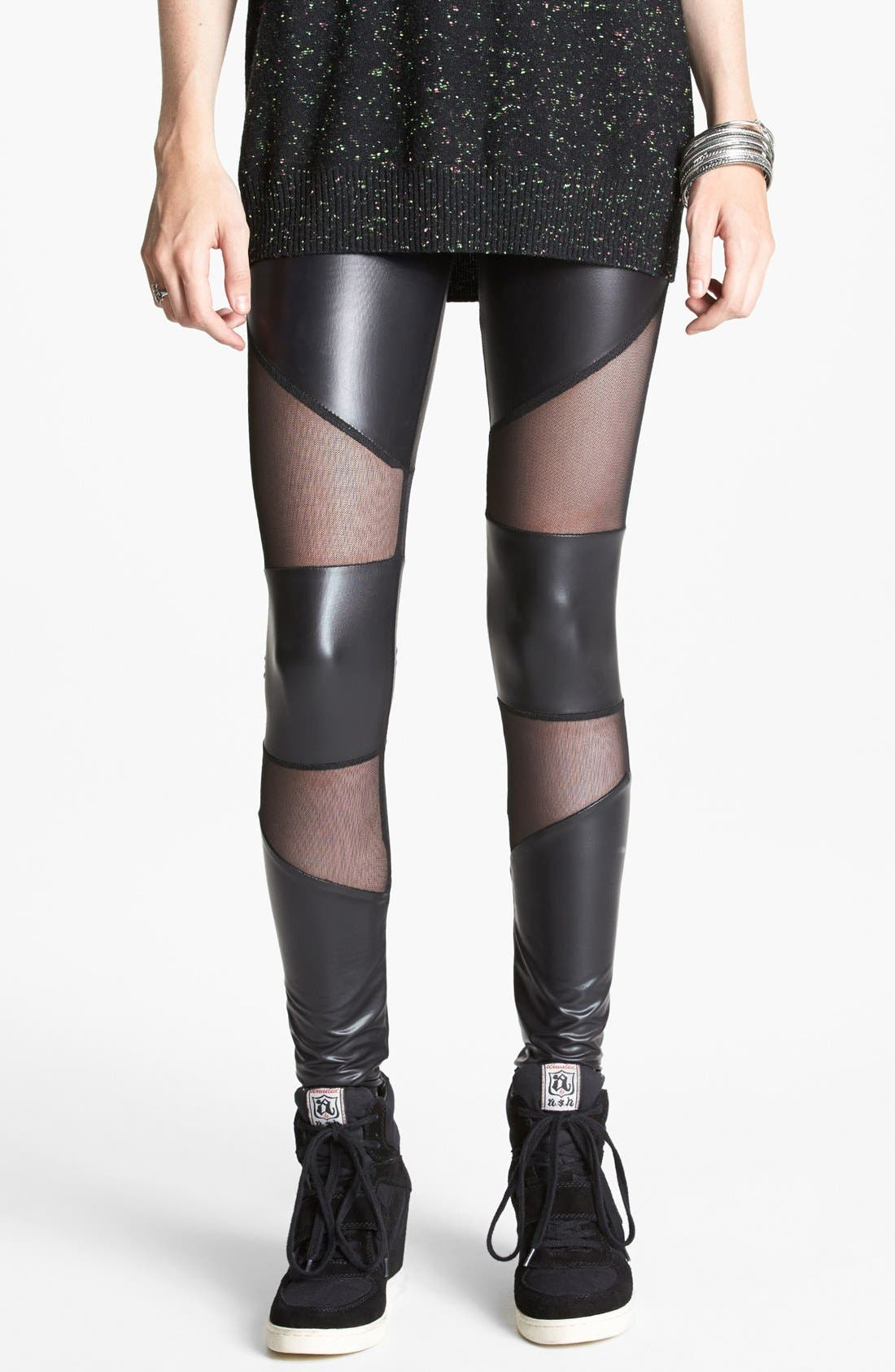 Main Image - Lush Mesh Inset Faux Leather Leggings (Juniors) (Online Only)
