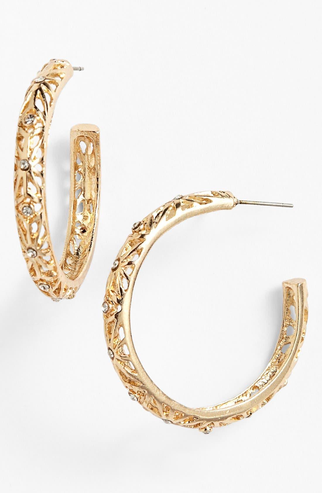 Main Image - Sequin Crystal Cutout Hoop Earrings