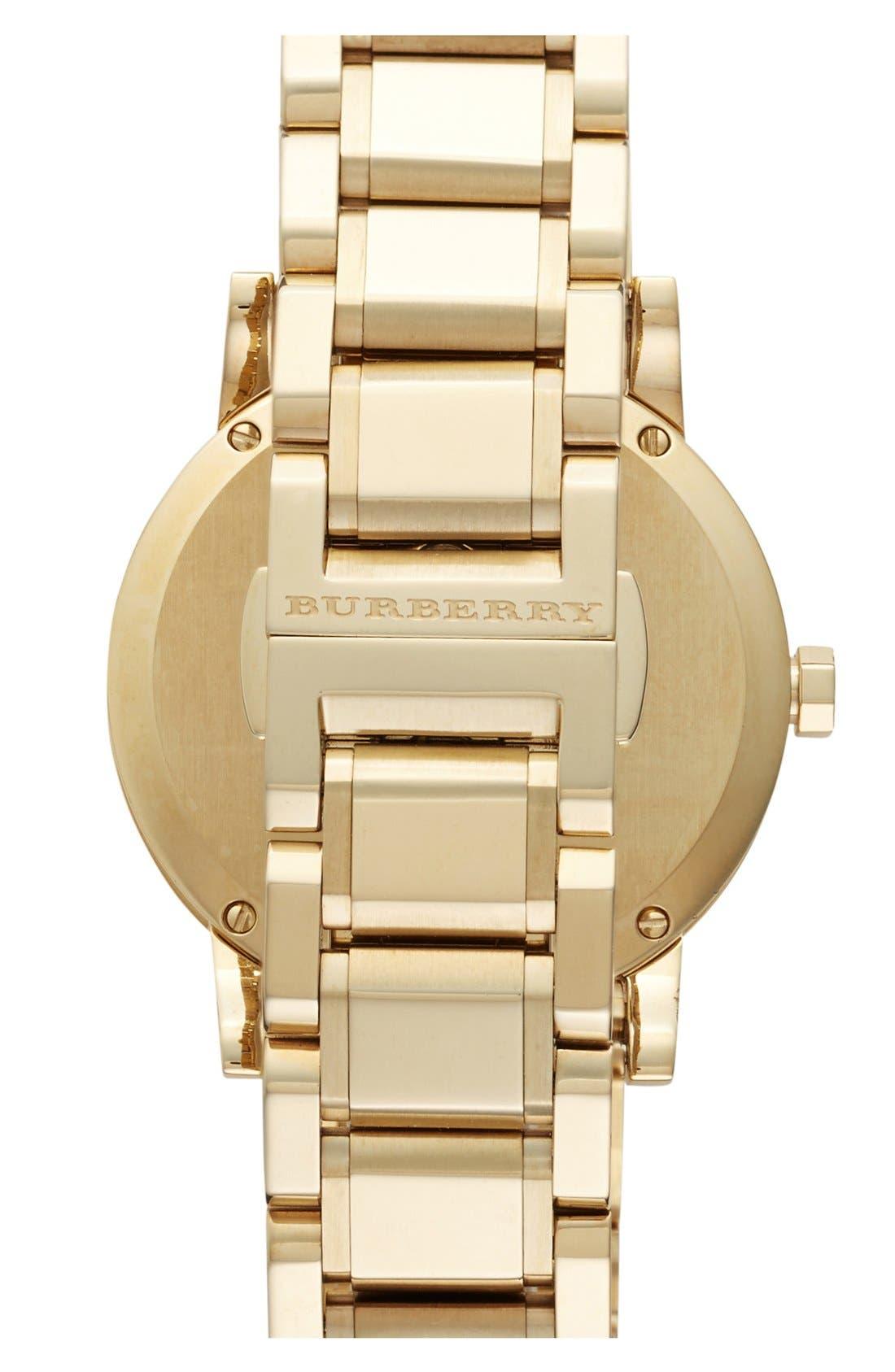 Alternate Image 2  - Burberry Large Check Stamped Bracelet Watch, 38mm