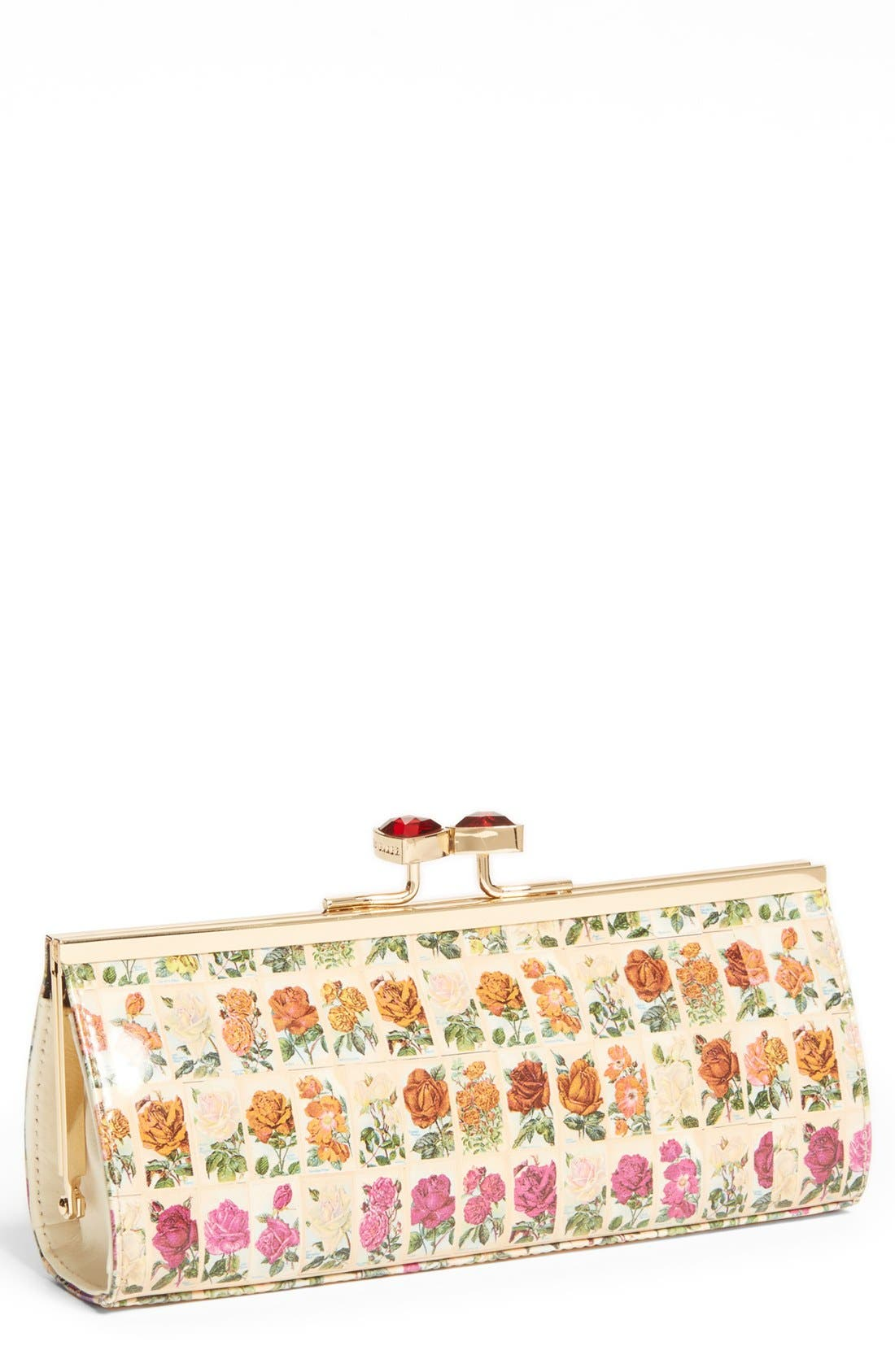 Main Image - Ted Baker London Floral Print Crystal Bow Clutch