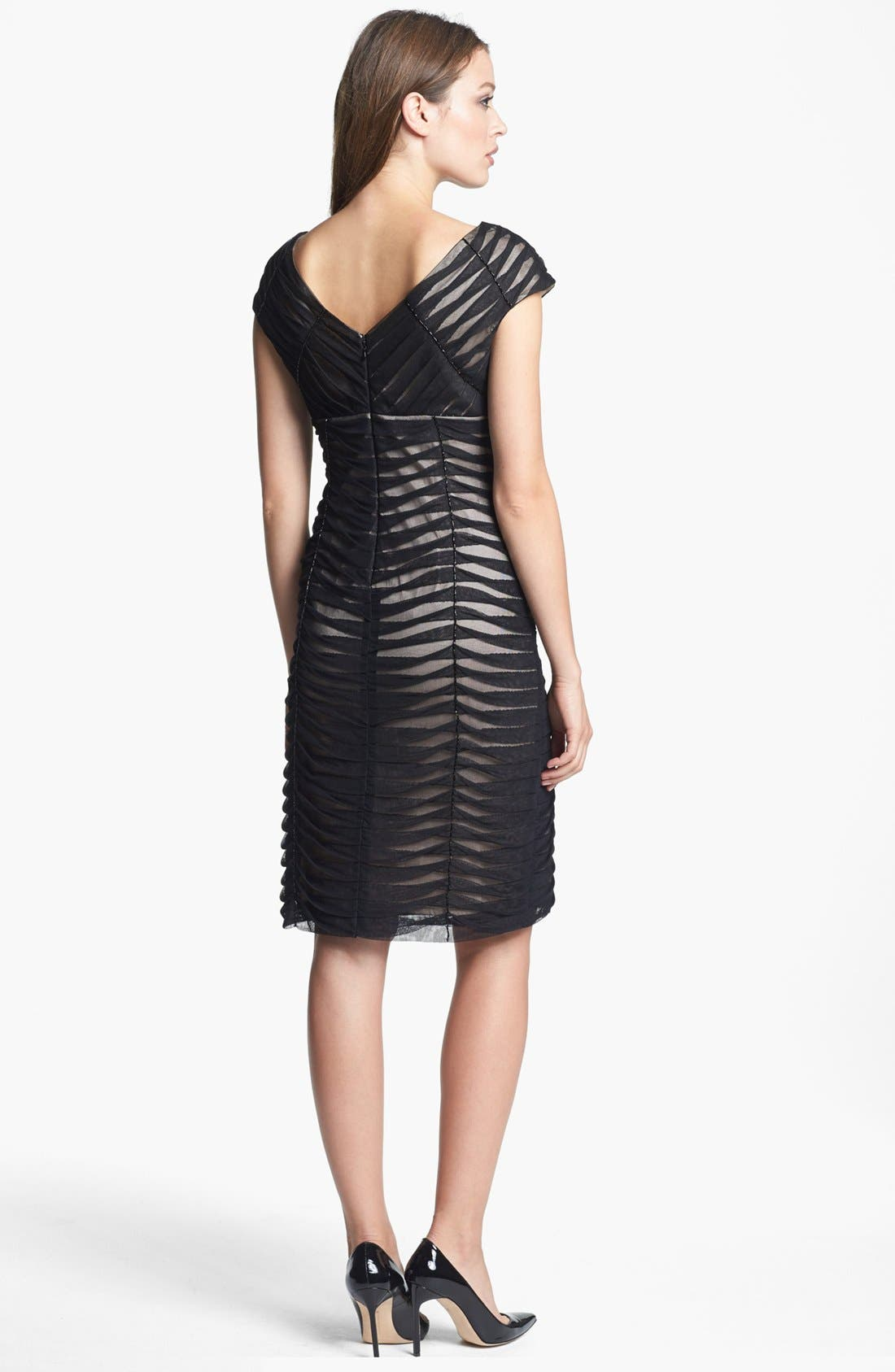 Alternate Image 2  - Adrianna Papell Pintucked Mesh Sheath Dress