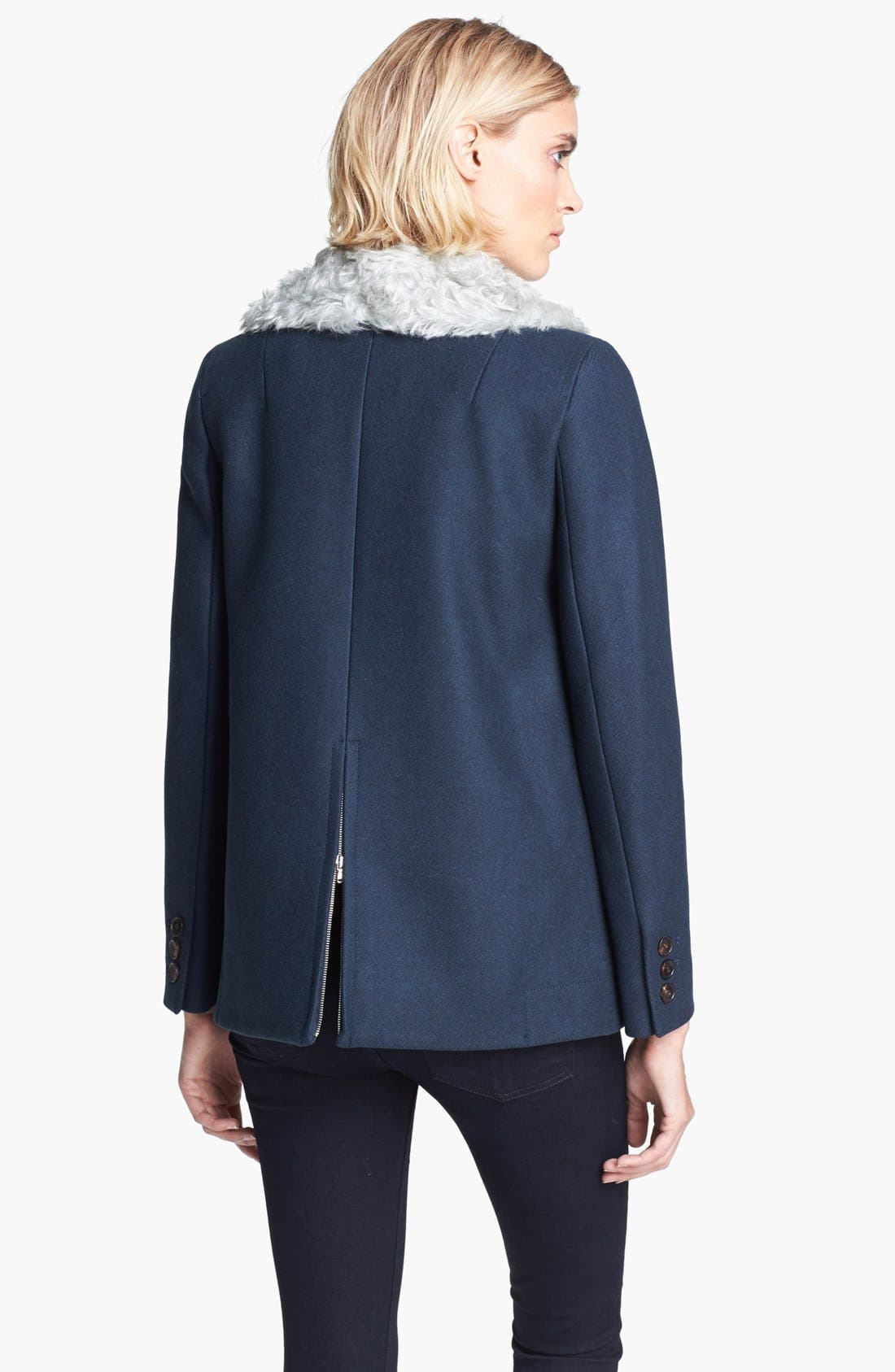 Alternate Image 3  - Carven Double Breasted Coat with Removable Faux Fur Collar