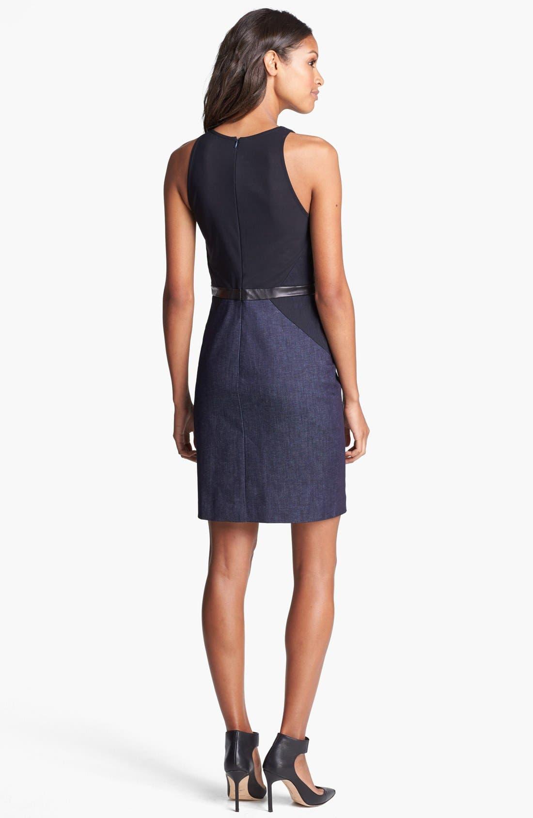 Alternate Image 2  - Nicole Miller Leather Trim Denim Sheath Dress