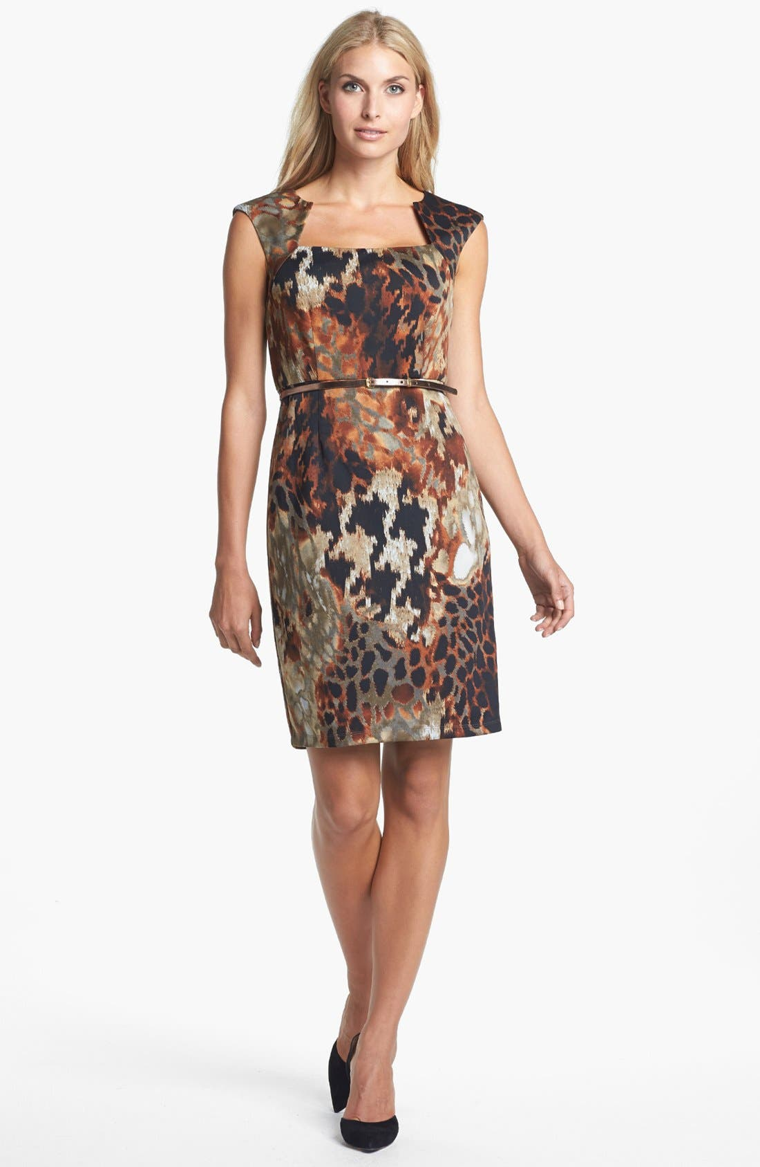 Main Image - Ellen Tracy Print Scuba Knit Sheath Dress