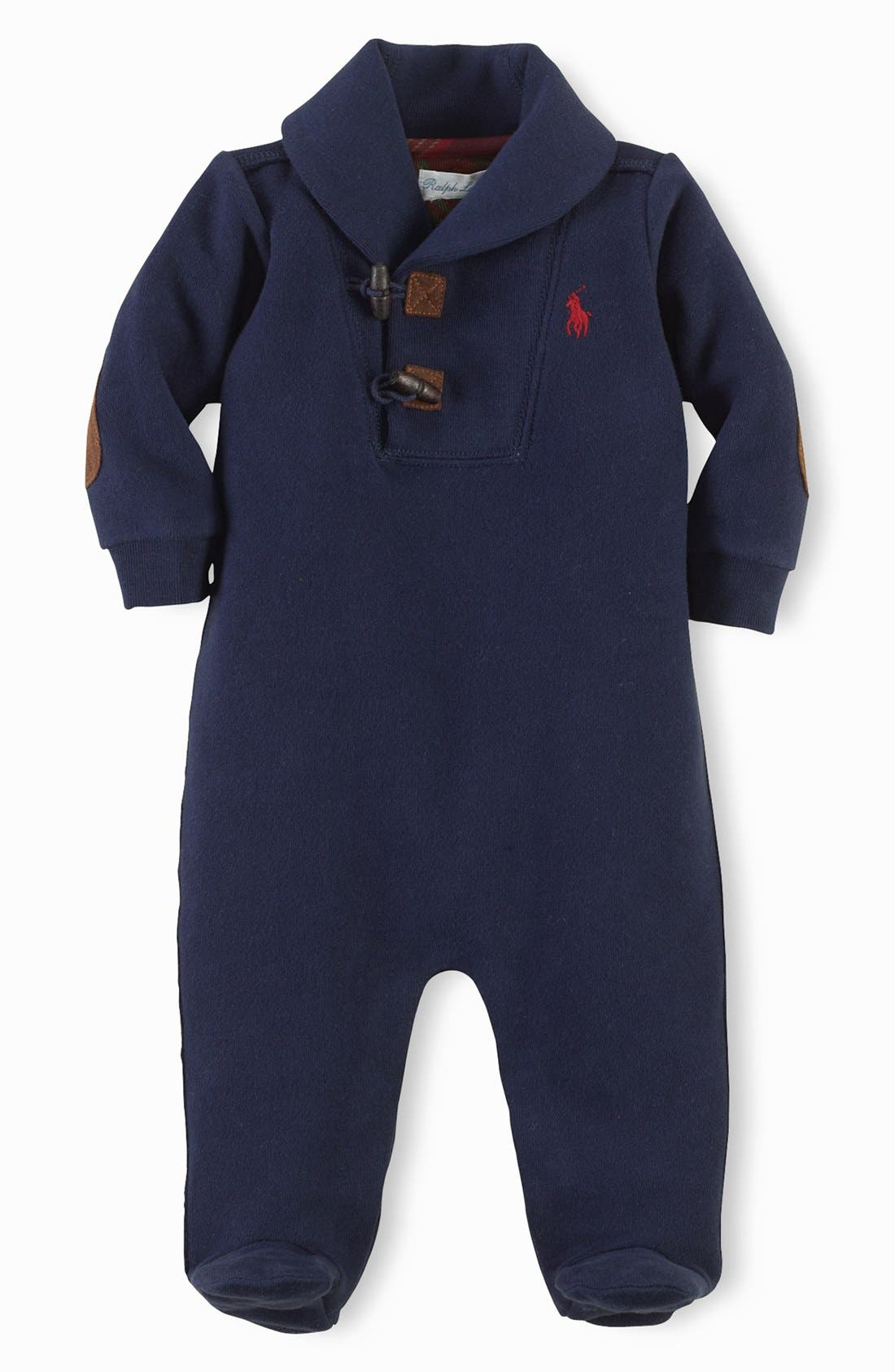 Alternate Image 1 Selected - Ralph Lauren Shawl Collar One-Piece (Baby Boys)