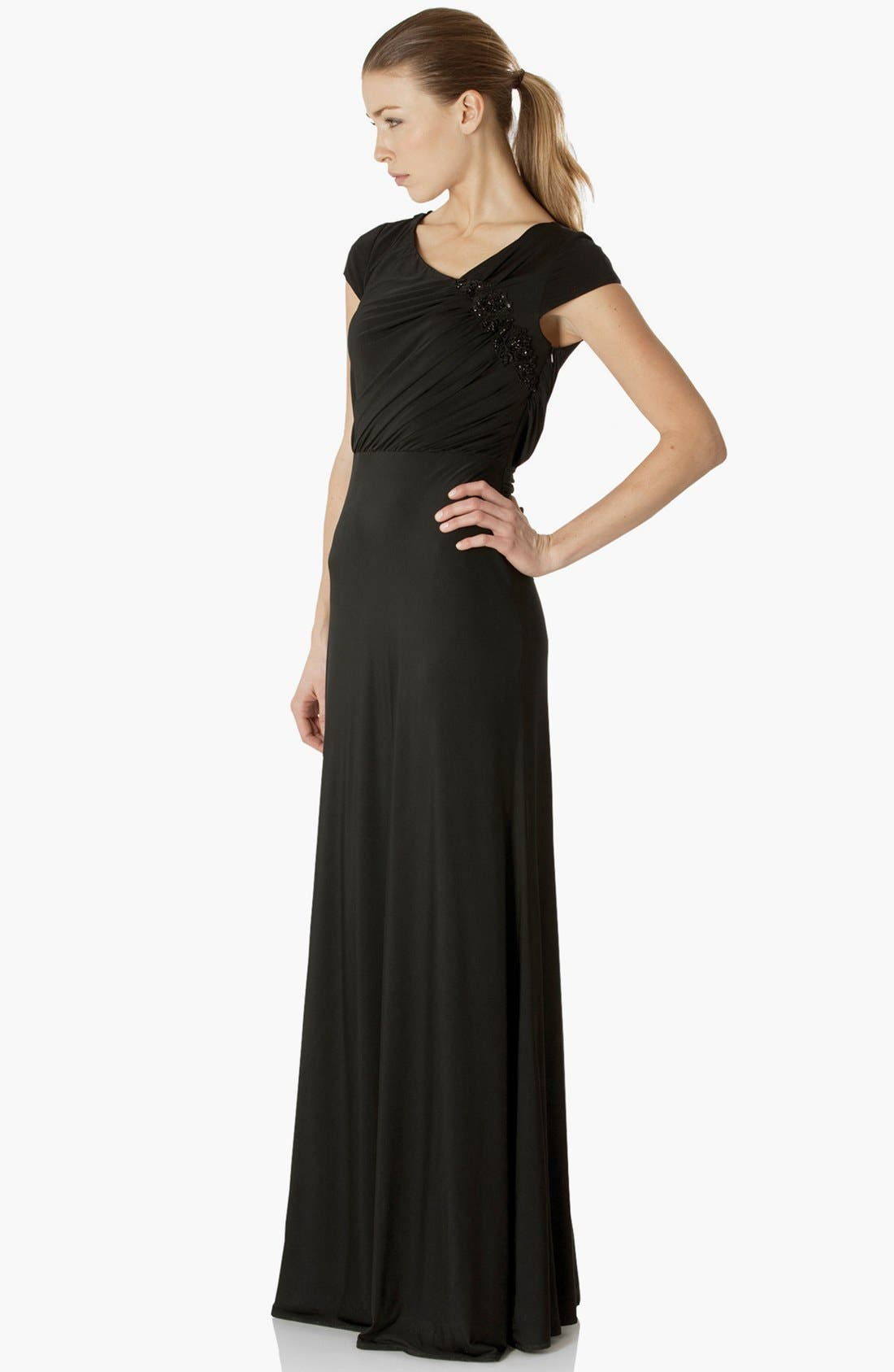 Alternate Image 1 Selected - JS Collections Lace Back Jersey Gown