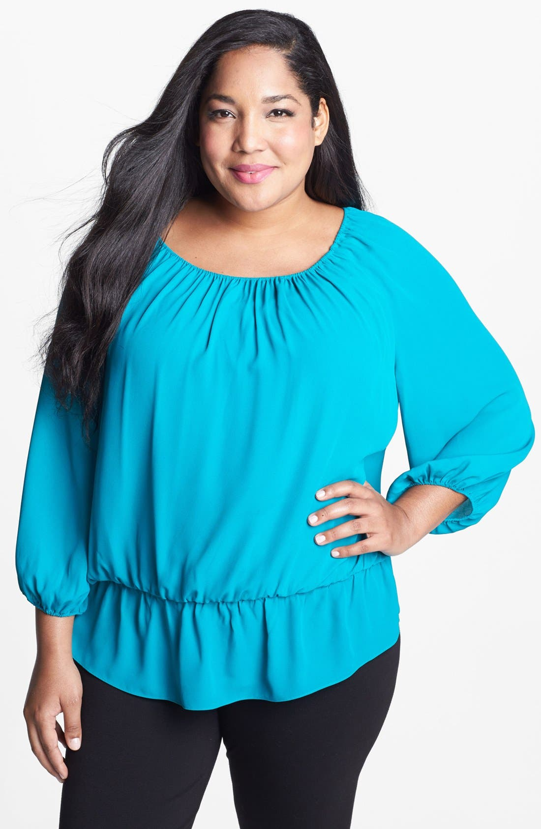 Alternate Image 1 Selected - Vince Camuto Peasant Top (Plus Size)