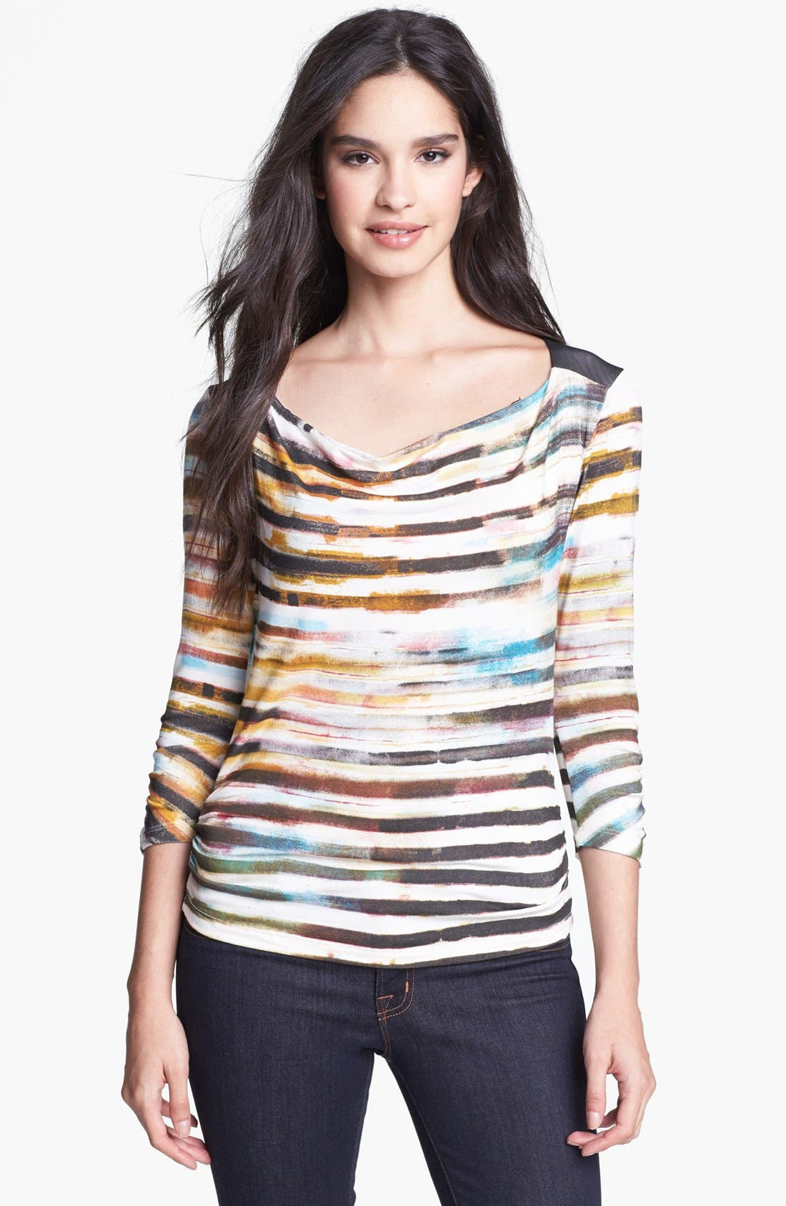 Alternate Image 1 Selected - Edista Drape Neck Stripe Tee (Petite)