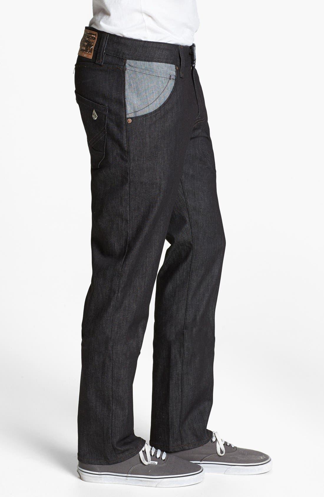 Alternate Image 3  - Volcom 'Nova' Straight Leg Jeans (Dark Black Rinse)