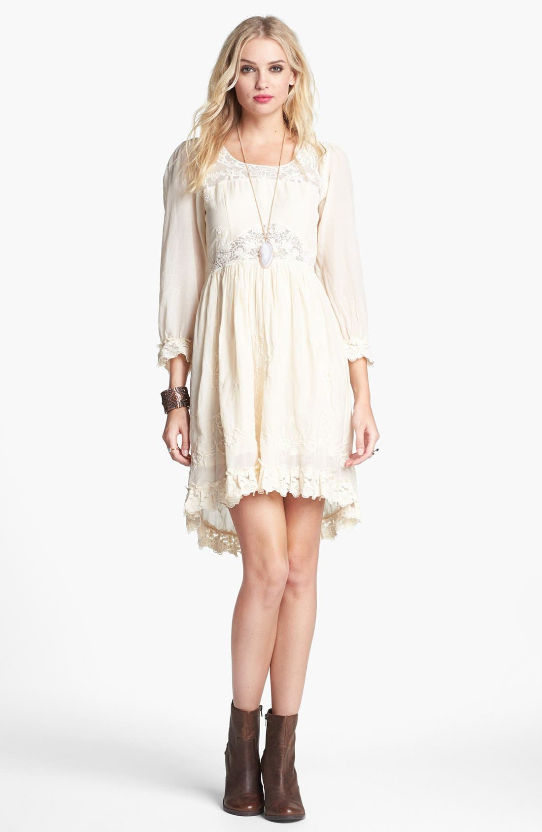 Main Image - Free People 'Montana' Embroidery & Lace Cotton High/Low Dress