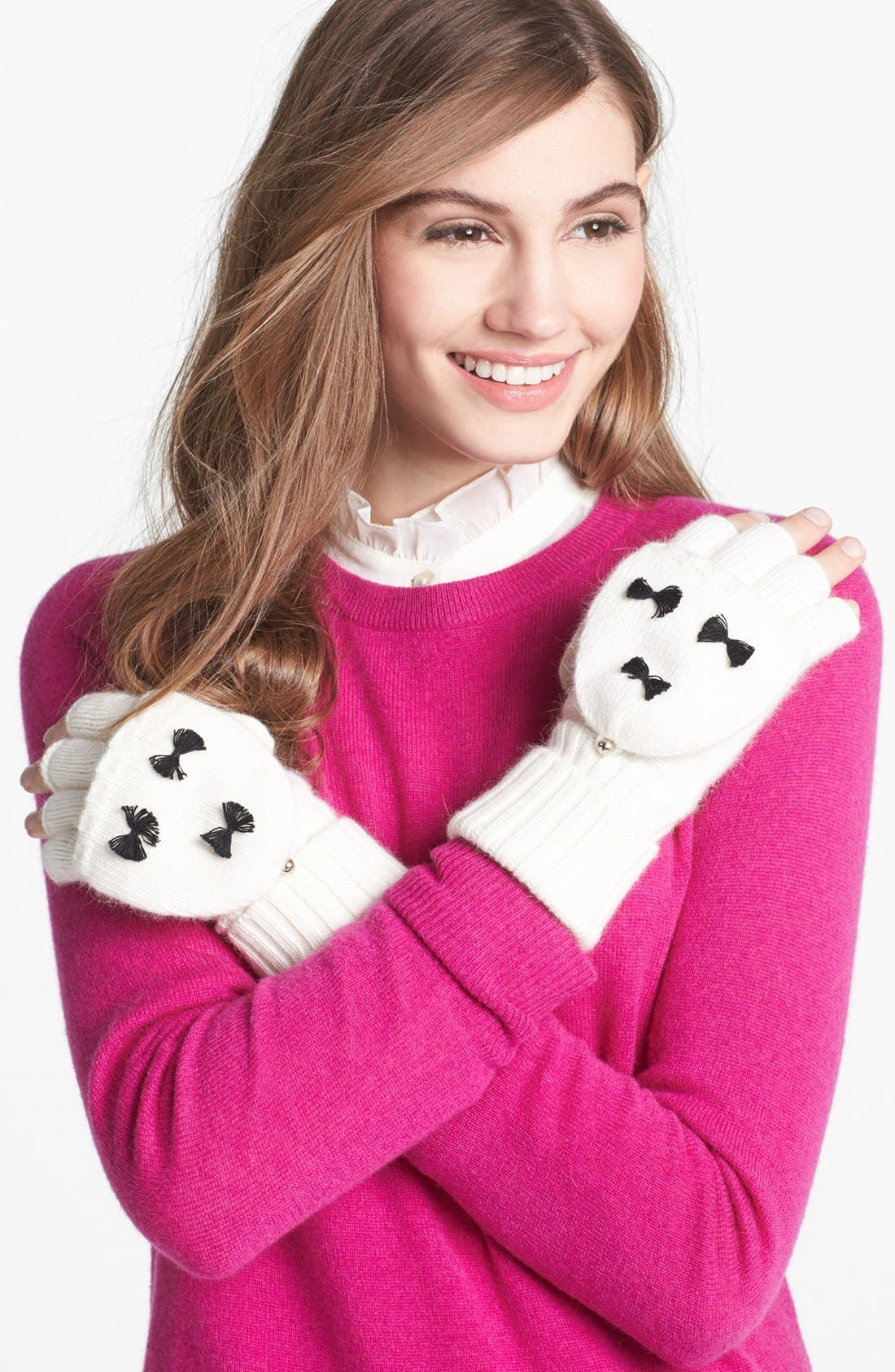 Main Image - kate spade new york 'bow' flip top mittens