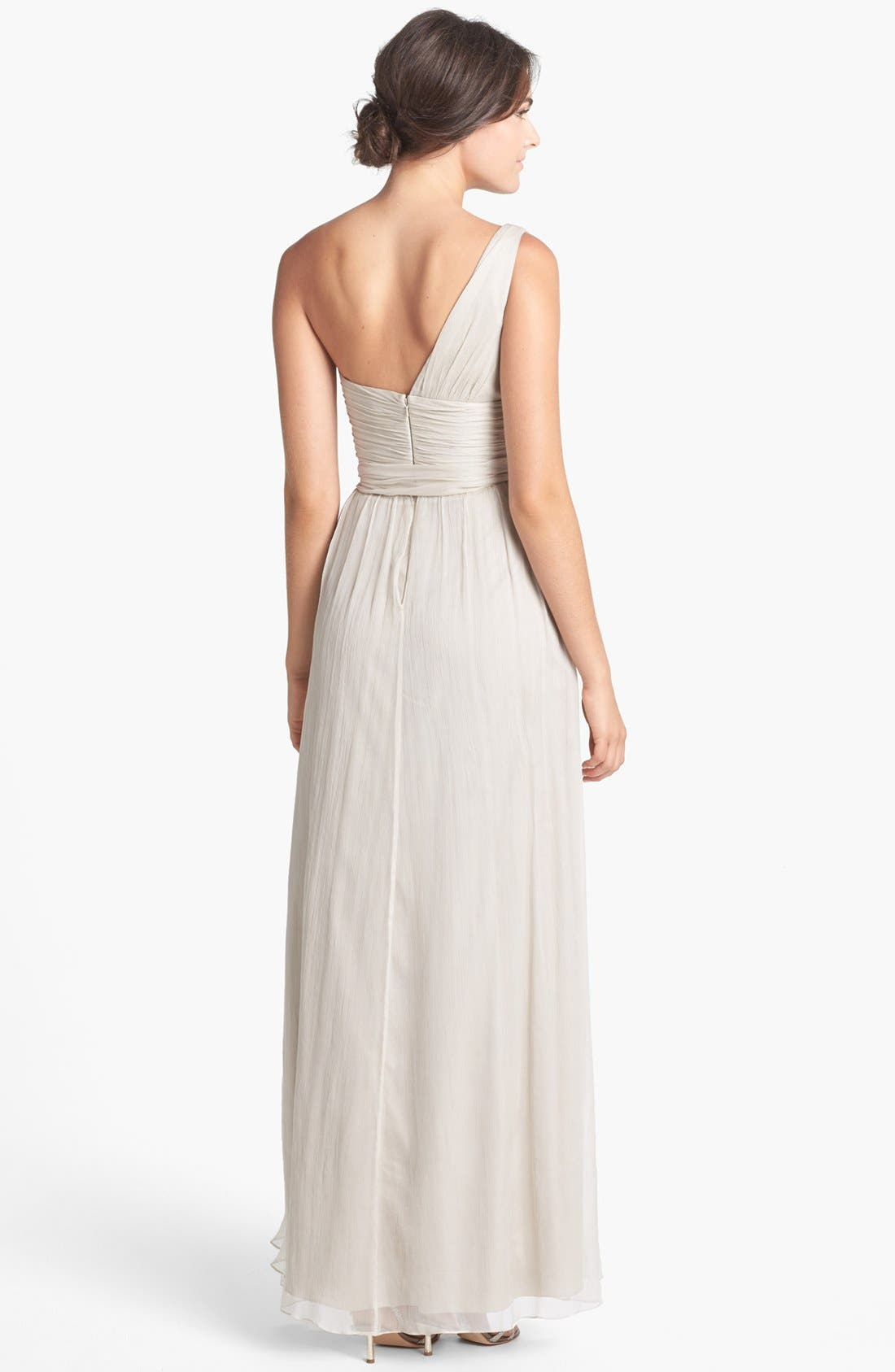 Alternate Image 2  - Amsale Ruched One-Shoulder Chiffon Gown