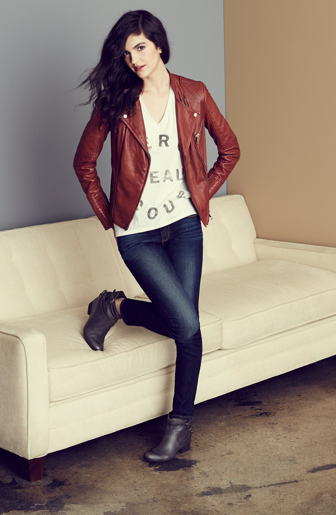 Alternate Image 2  - Kenna-T Moto Jacket, Signorelli Tee & Big Star Jeans