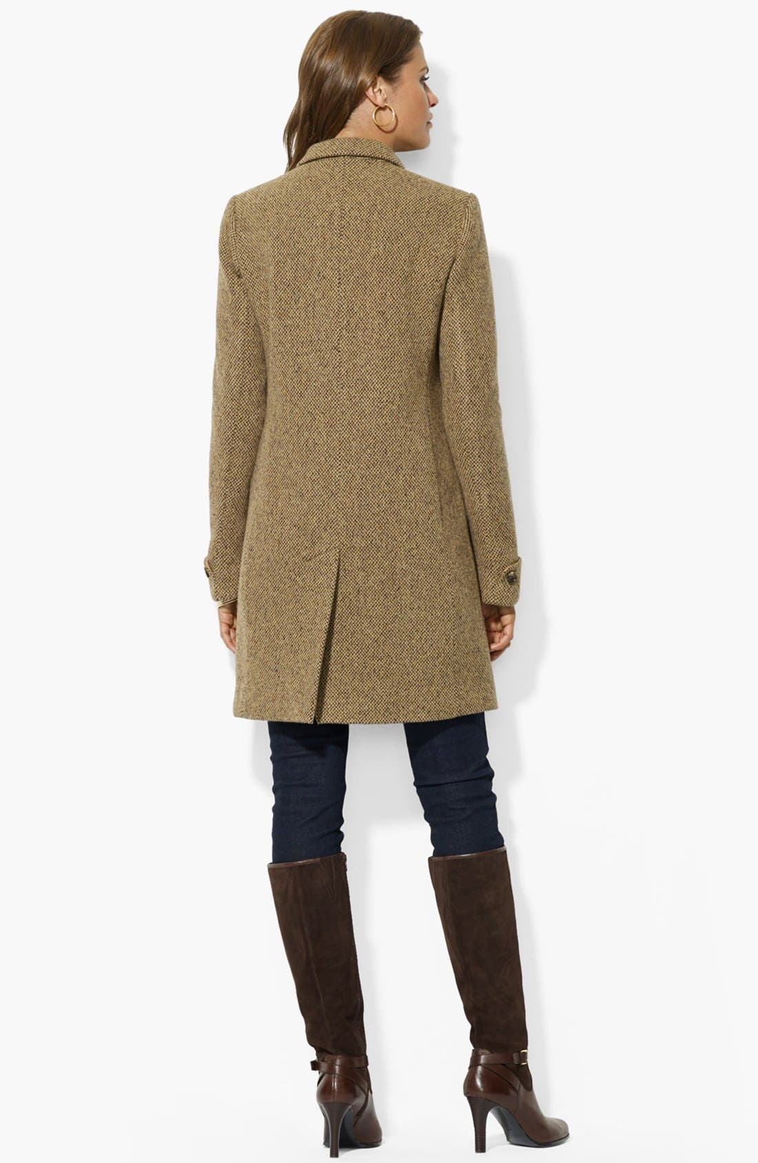 Alternate Image 2  - Lauren Ralph Lauren Wool Blend Twill Coat (Regular & Petite)