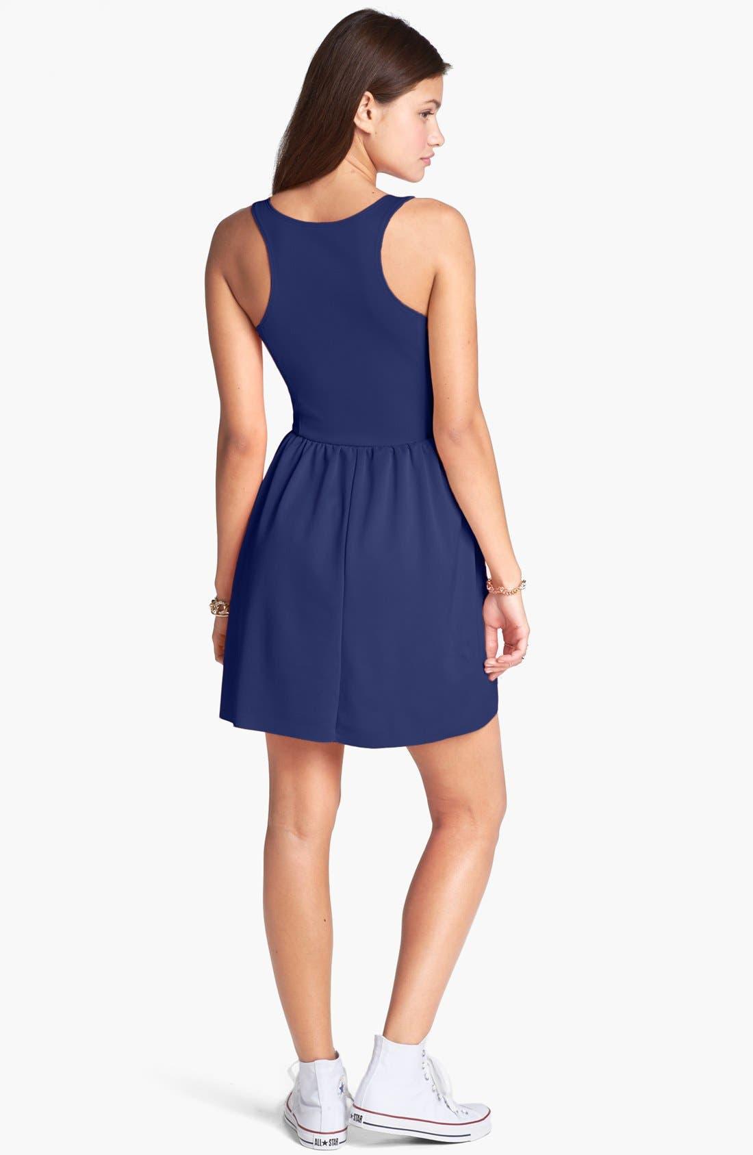 Alternate Image 2  - Frenchi® Ponte Racerback Dress (Juniors)