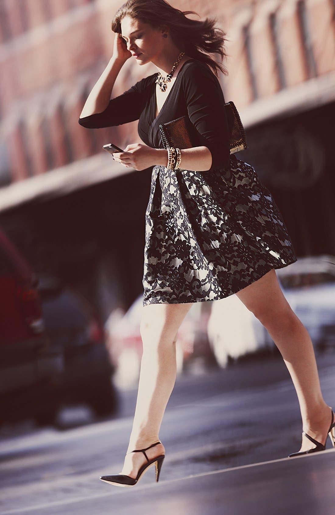 Alternate Image 4  - Eliza J Jacquard Skirt Dress (Plus Size)