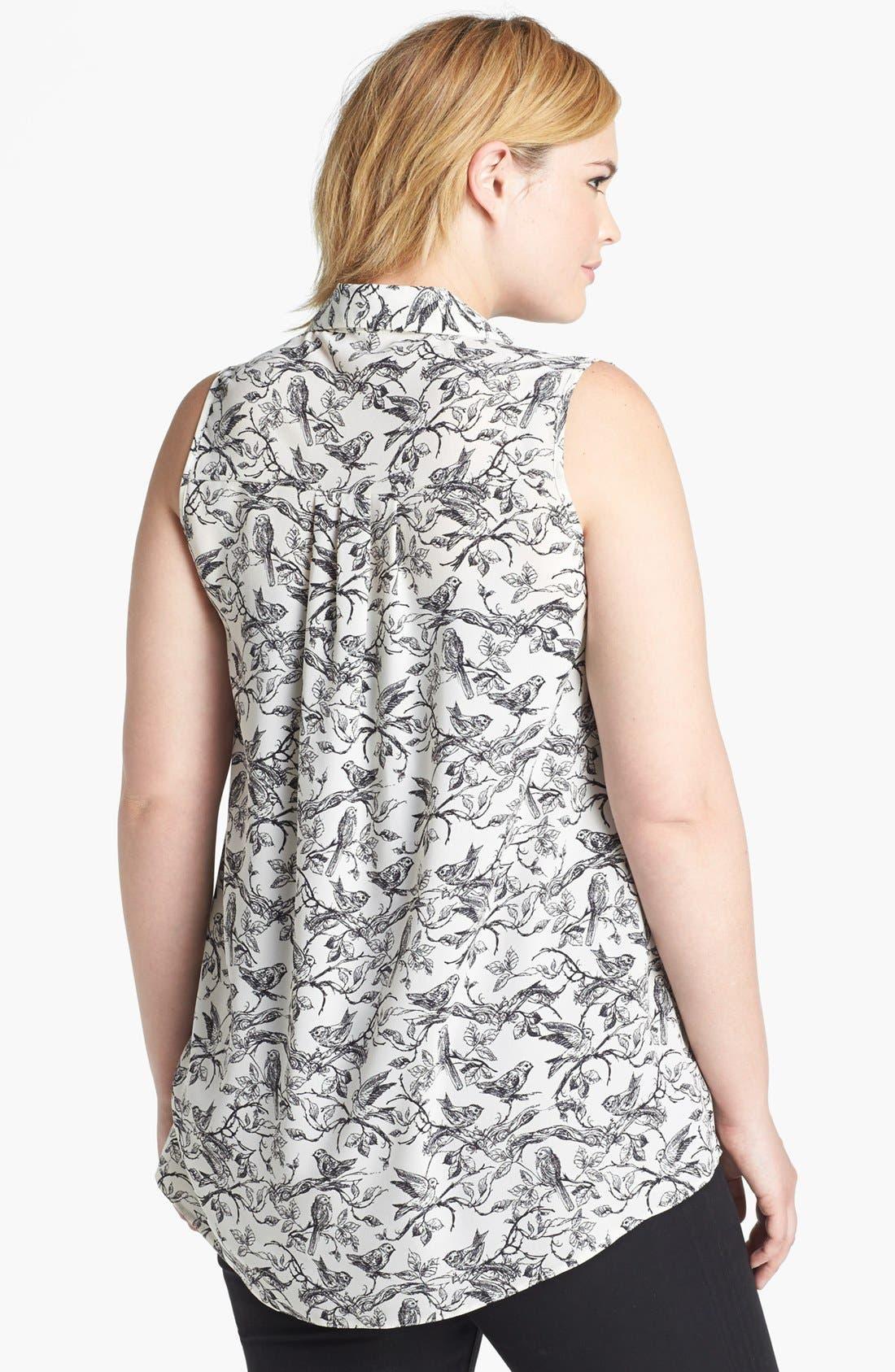 Alternate Image 2  - Evans Bird Print Sleeveless Blouse (Plus Size)
