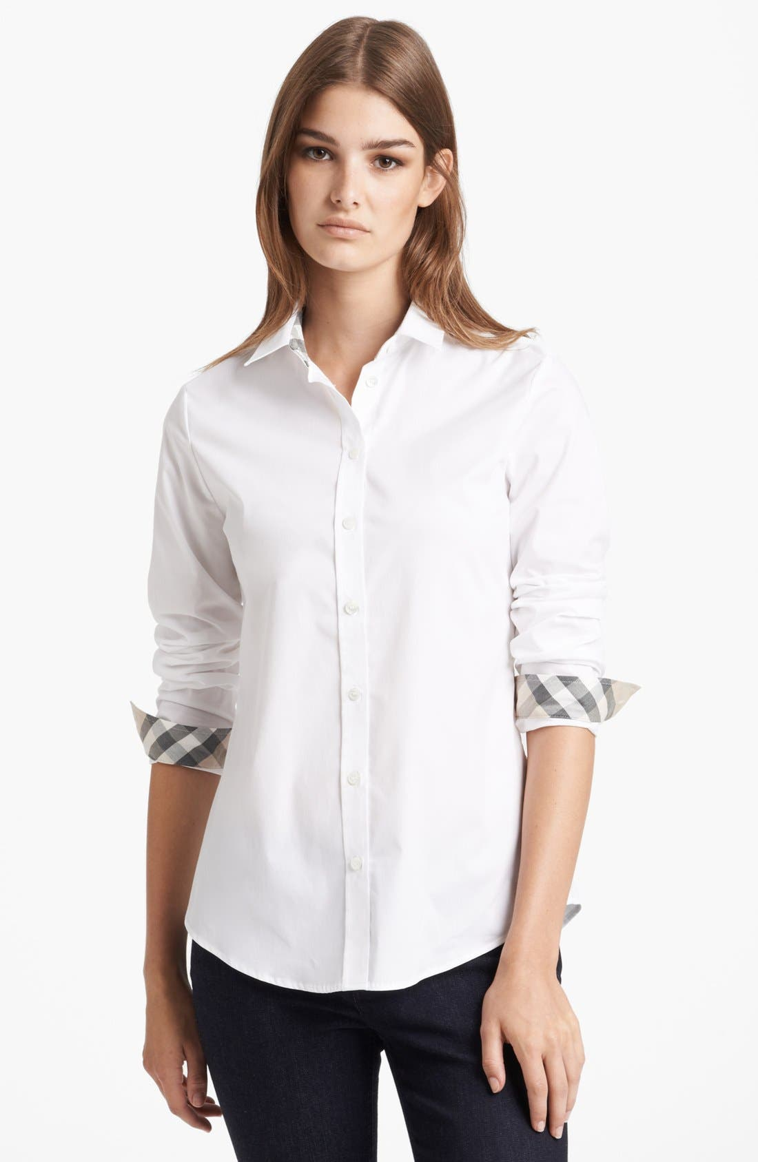 Shirt with Check Contrast,                         Main,                         color, White