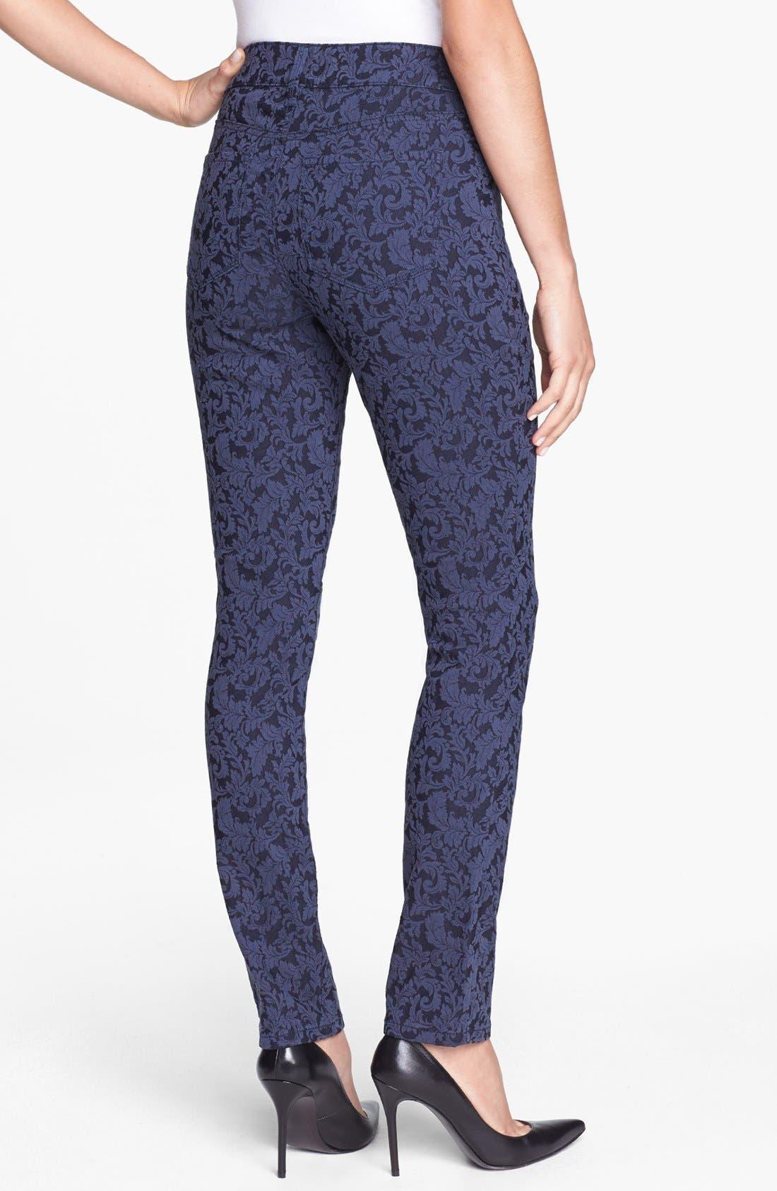 Alternate Image 2  - NYDJ 'Jade' Patterned Stretch Skinny Jeans (Navy Jacquard)